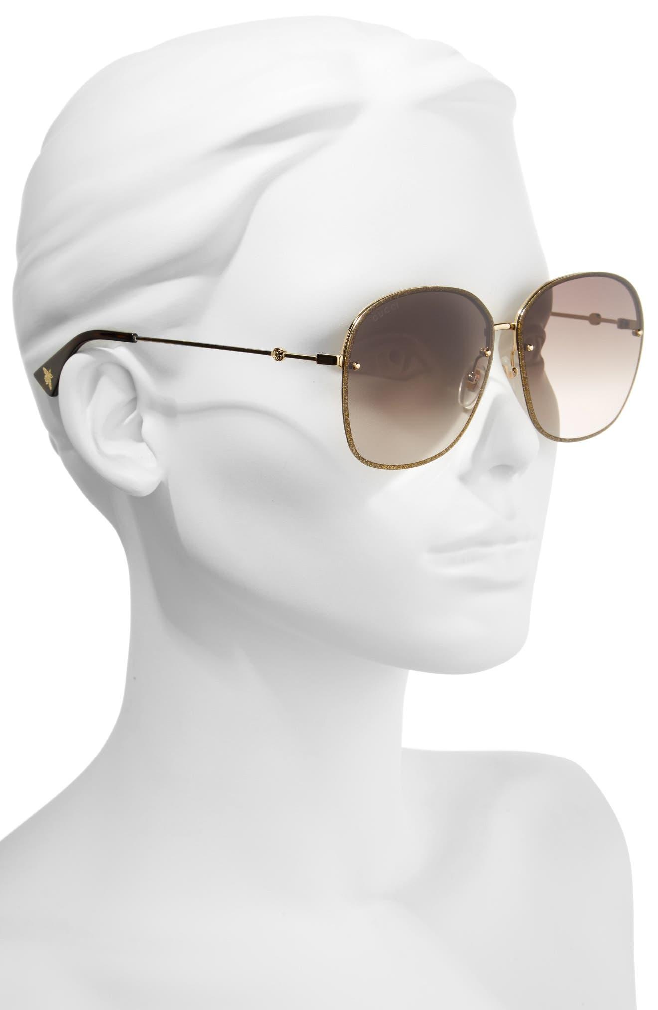 63mm Oversize Square Sunglasses,                             Alternate thumbnail 2, color,                             Gold/ Brown