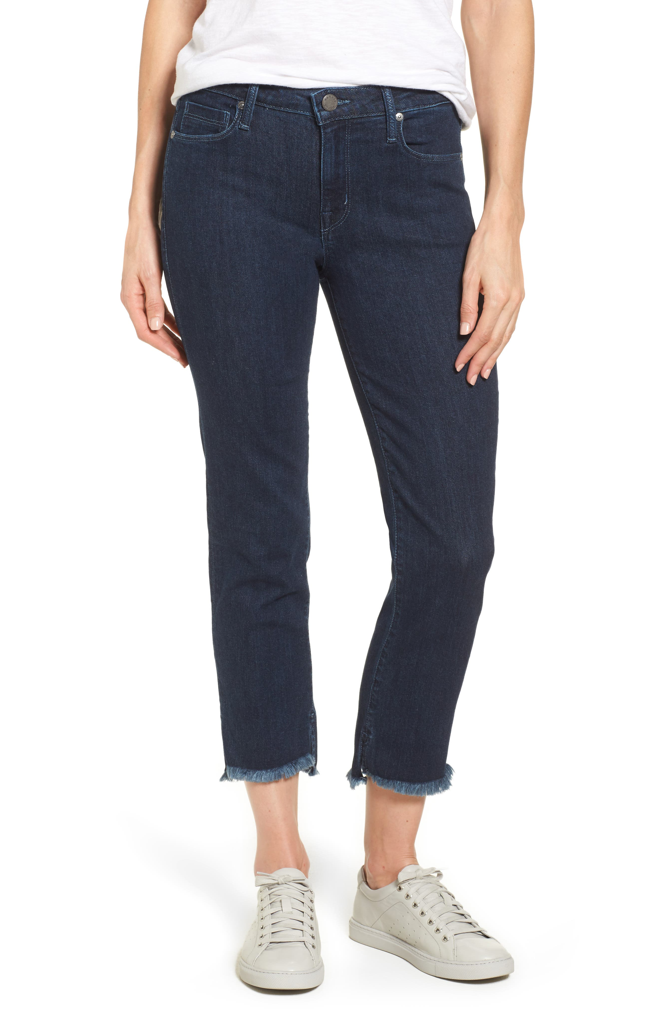 Step-Hem Straight Jeans,                         Main,                         color, Baltic