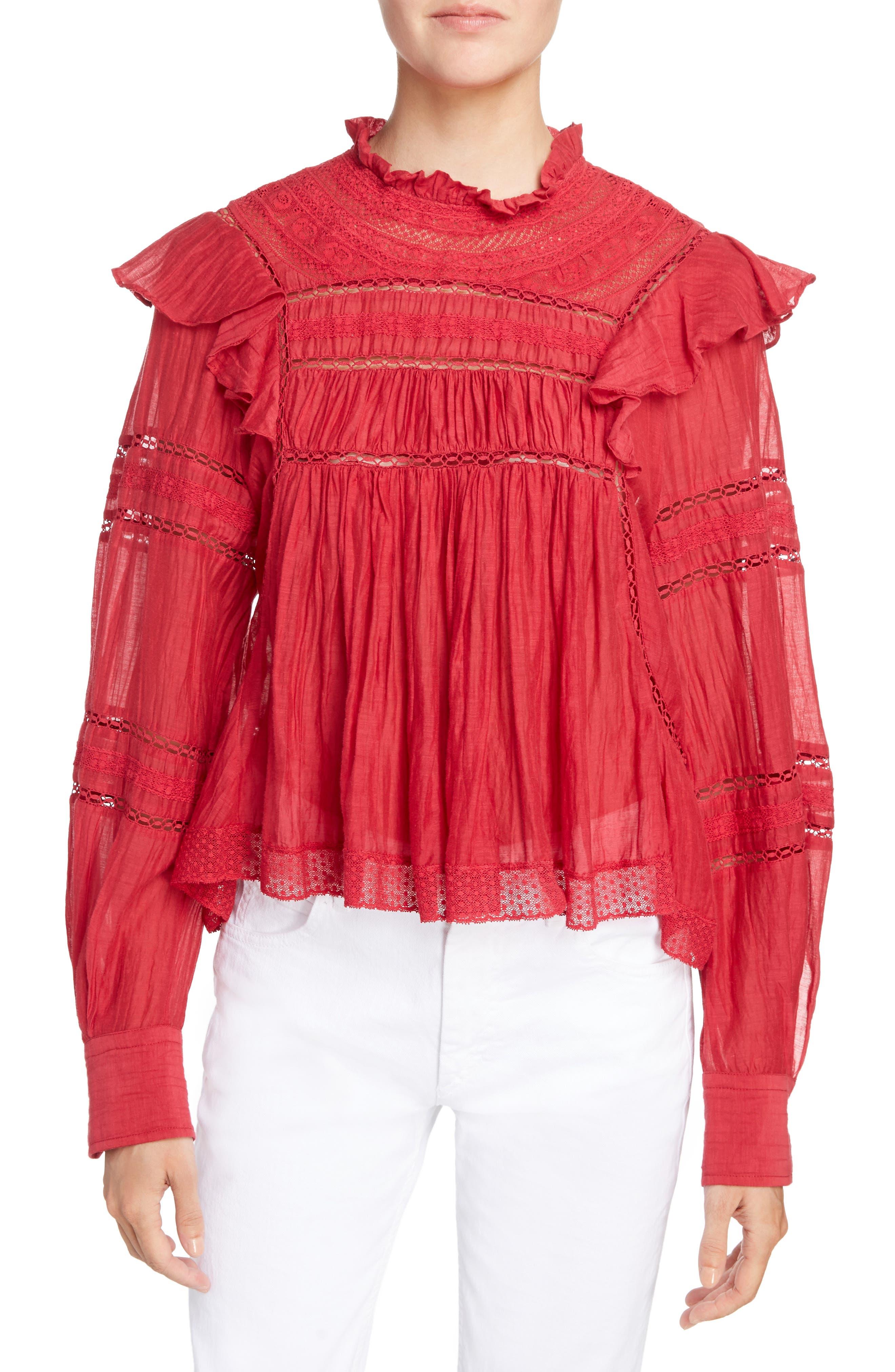 Isabel Marant Étoile Viviana Lace Trim Top,                         Main,                         color, Raspberry