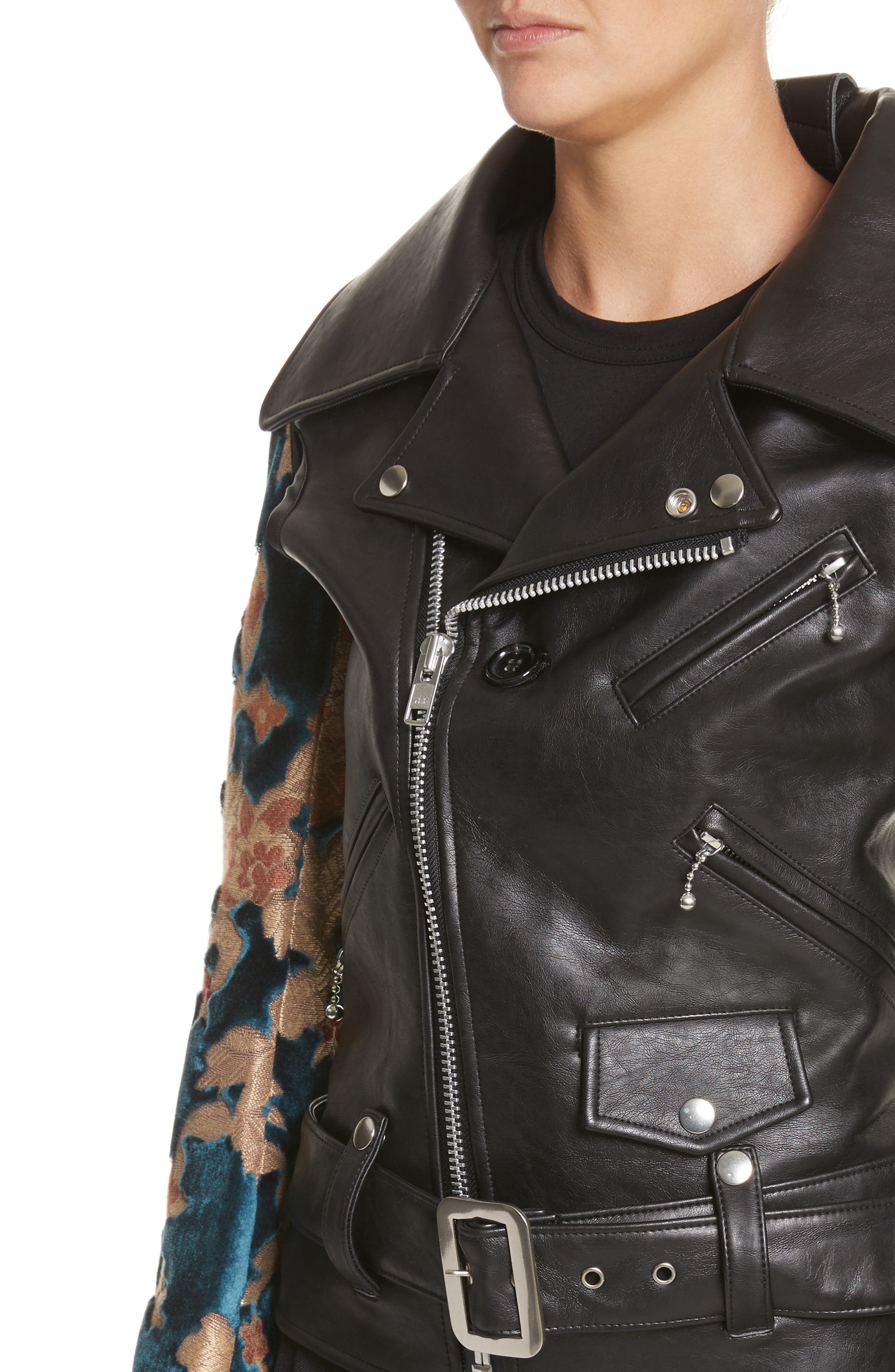 Faux Leather Moto Jacket with Floral Sleeves,                             Alternate thumbnail 4, color,                             Black X Blu/Bge