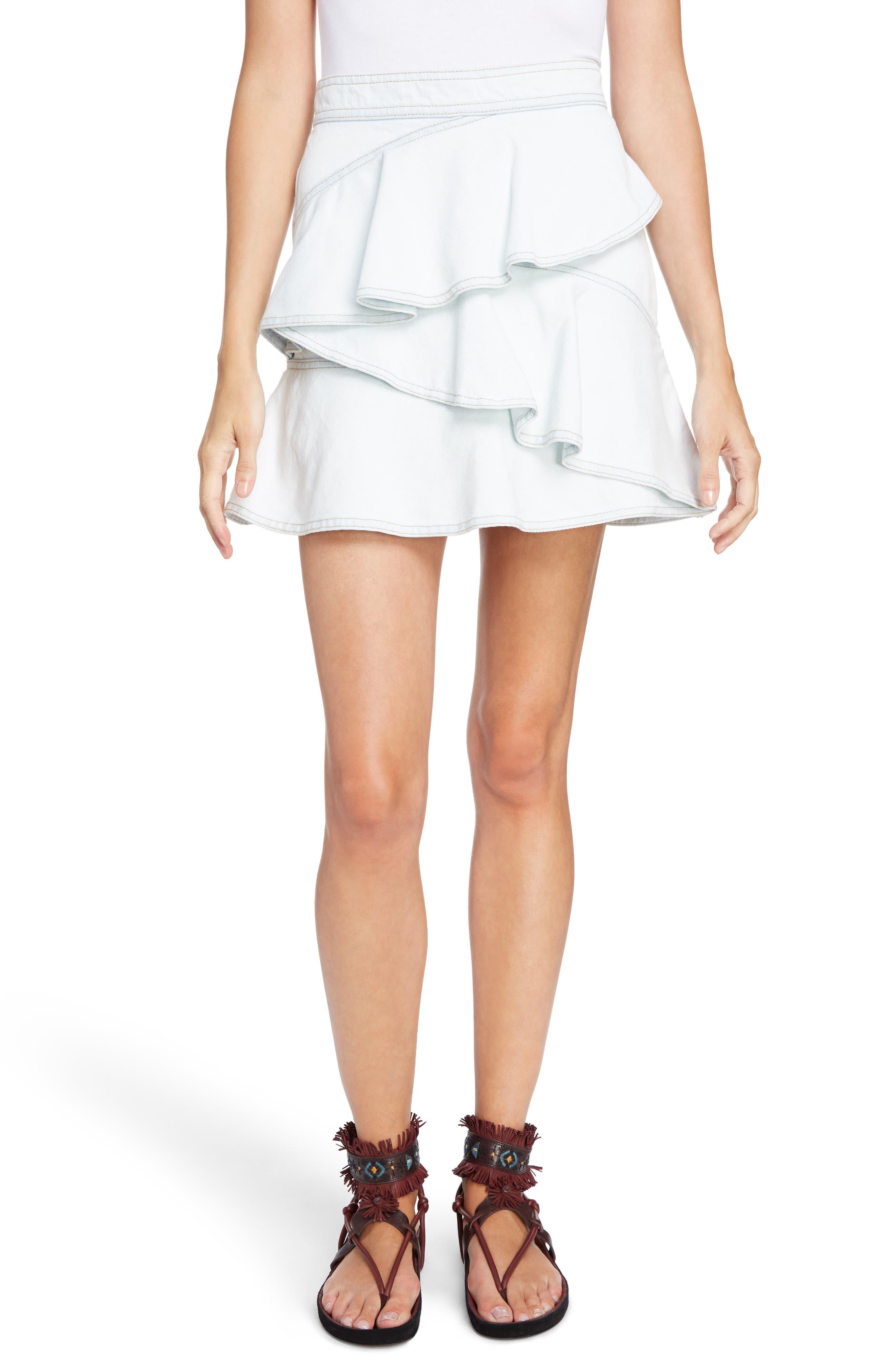 Isabel Marant Étoile Coati Ruffle Denim Skirt,                         Main,                         color, Light Blue