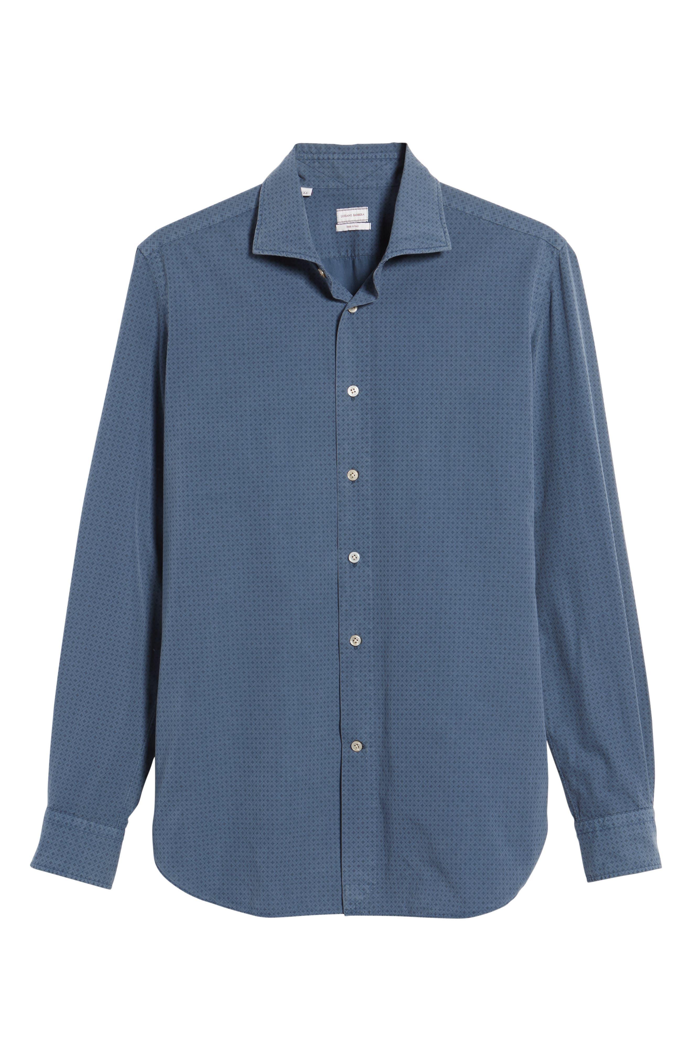 Classic Fit Diamond Print Sport Shirt,                             Alternate thumbnail 6, color,                             Blue