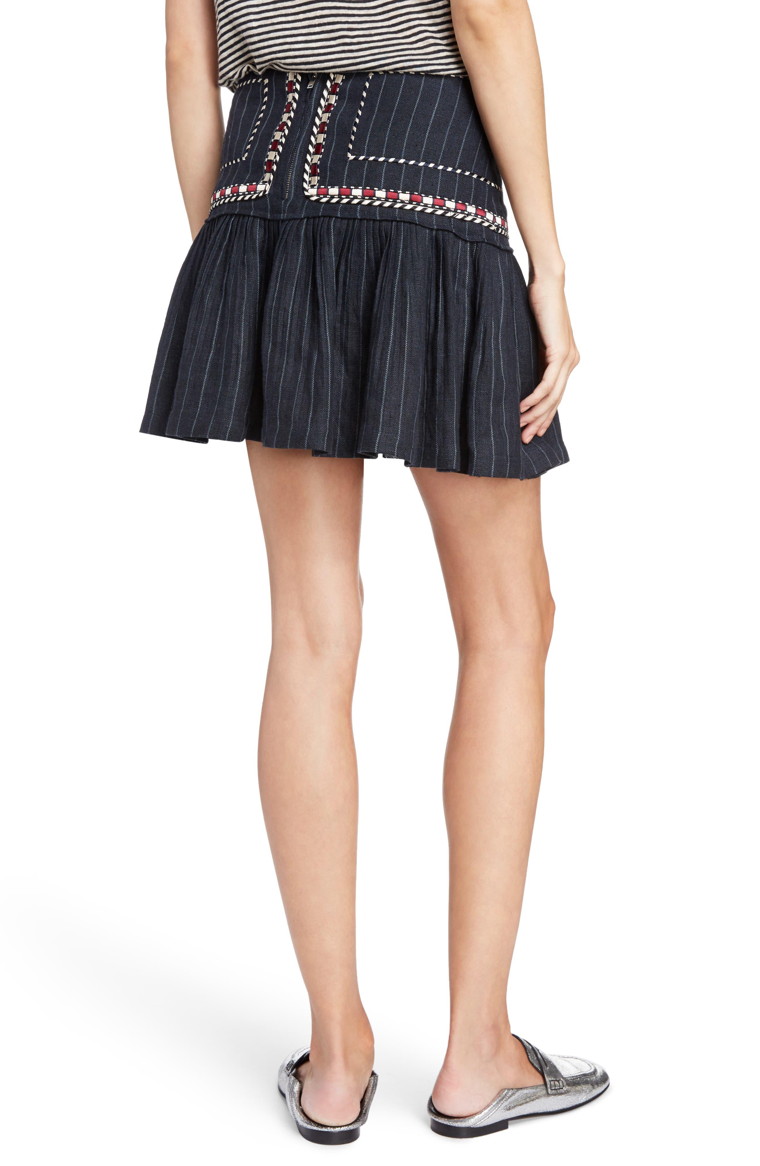 Isabel Marant Étoile Jessie Embroidered Linen Skirt,                             Alternate thumbnail 2, color,                             Midnight