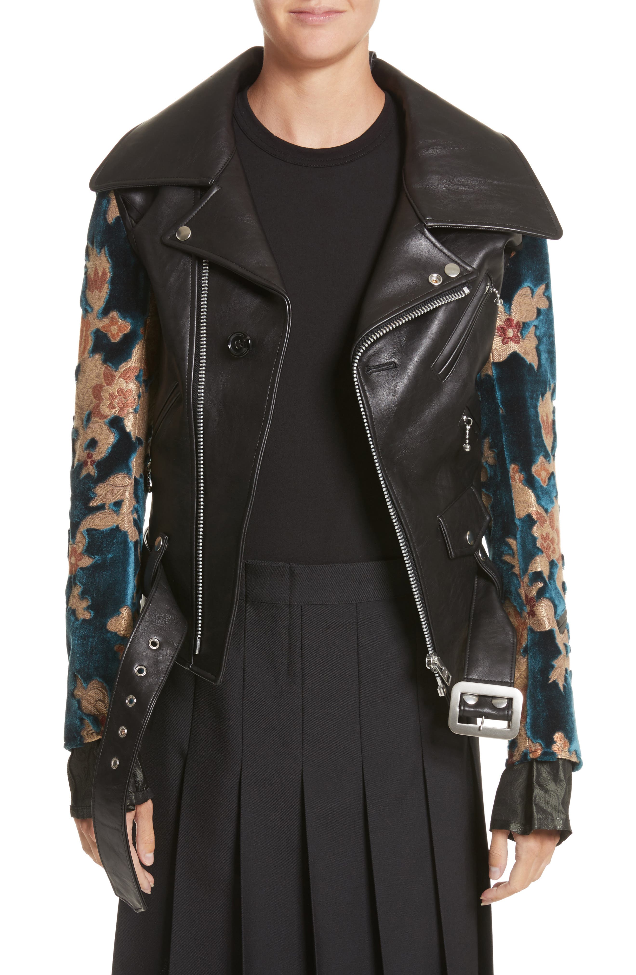 Faux Leather Moto Jacket with Floral Sleeves,                         Main,                         color, Black X Blu/Bge