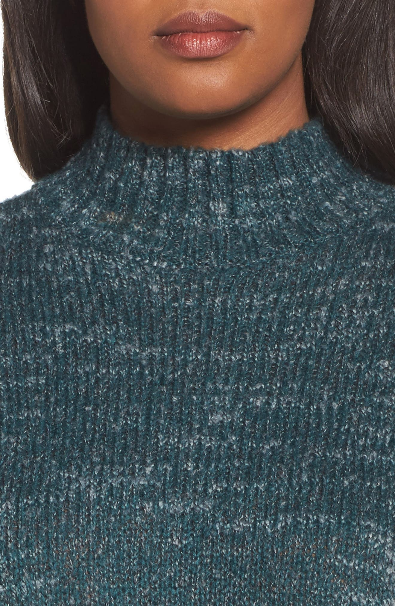 Mock Neck Knit Sweater,                             Alternate thumbnail 4, color,                             Navy- Blue Combo