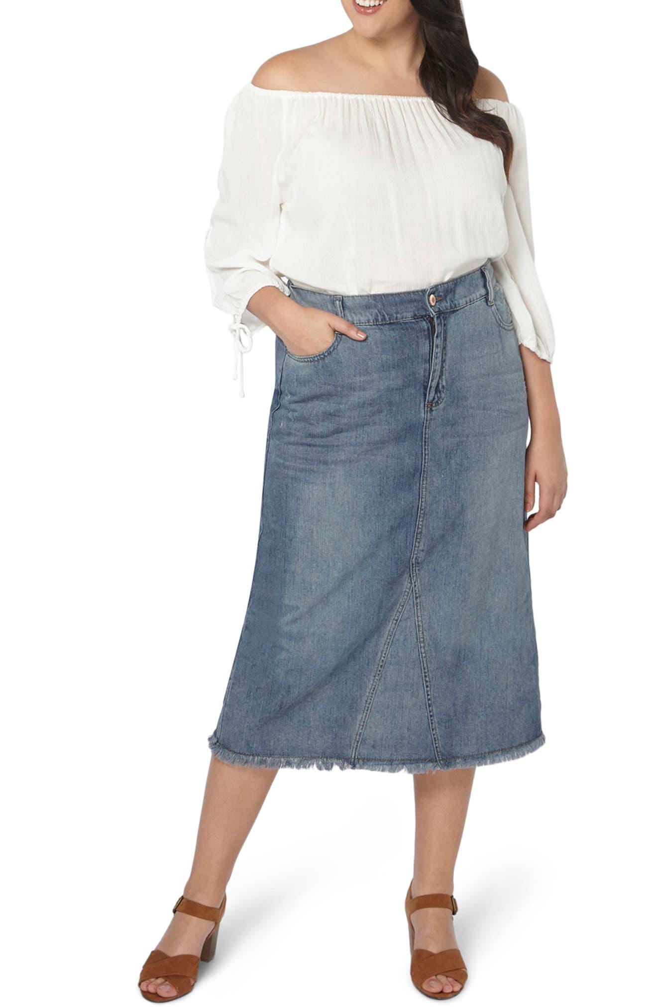 Evans Denim Midi Skirt (Plus Size)