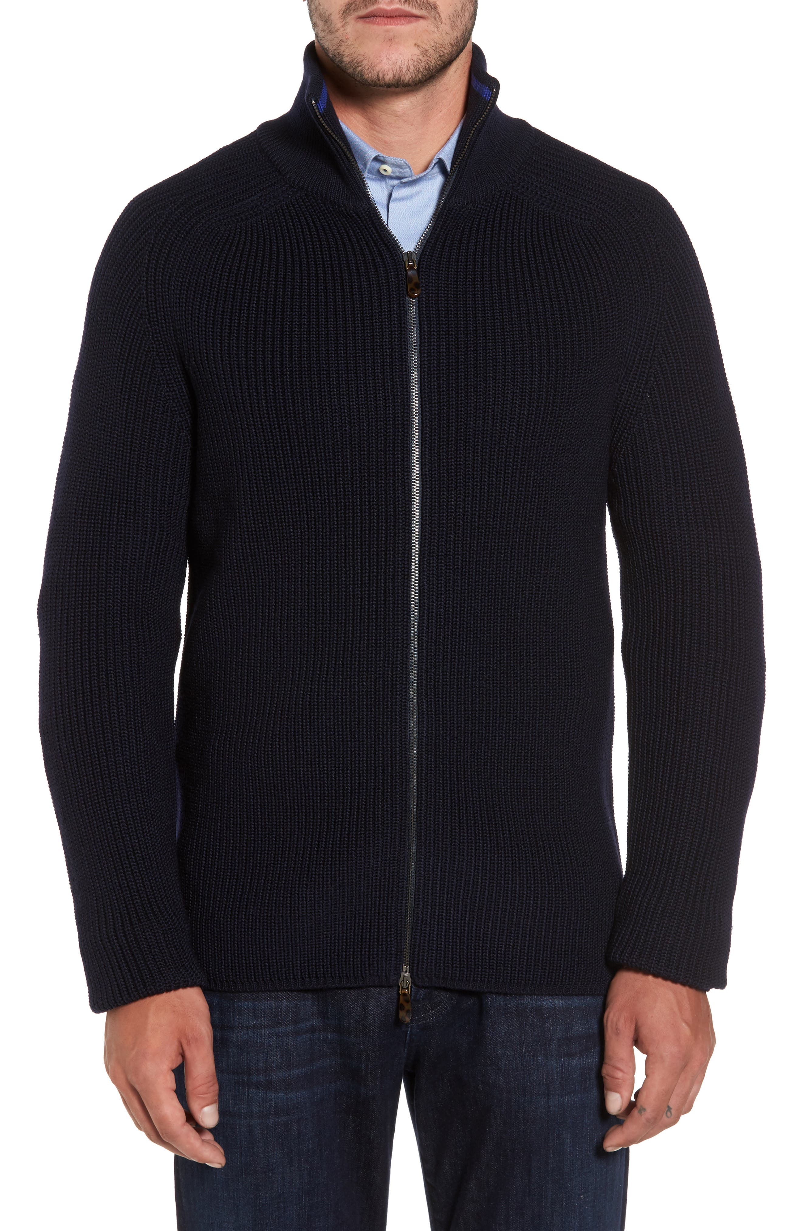 Shaker Stitch Wool Zip Cardigan,                             Main thumbnail 1, color,                             Navy