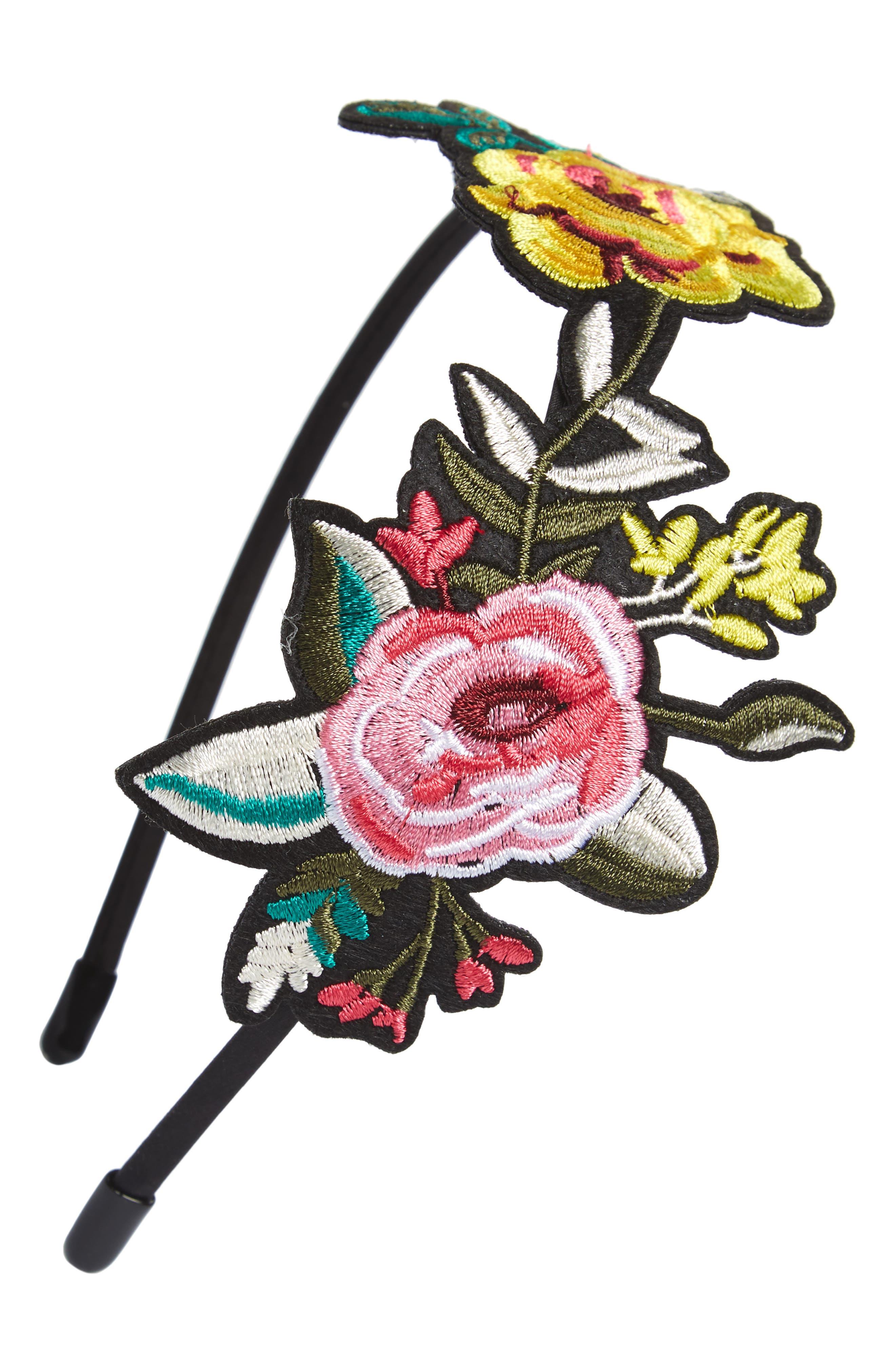 Main Image - Cara Embroidered Flower Headband (Girls)