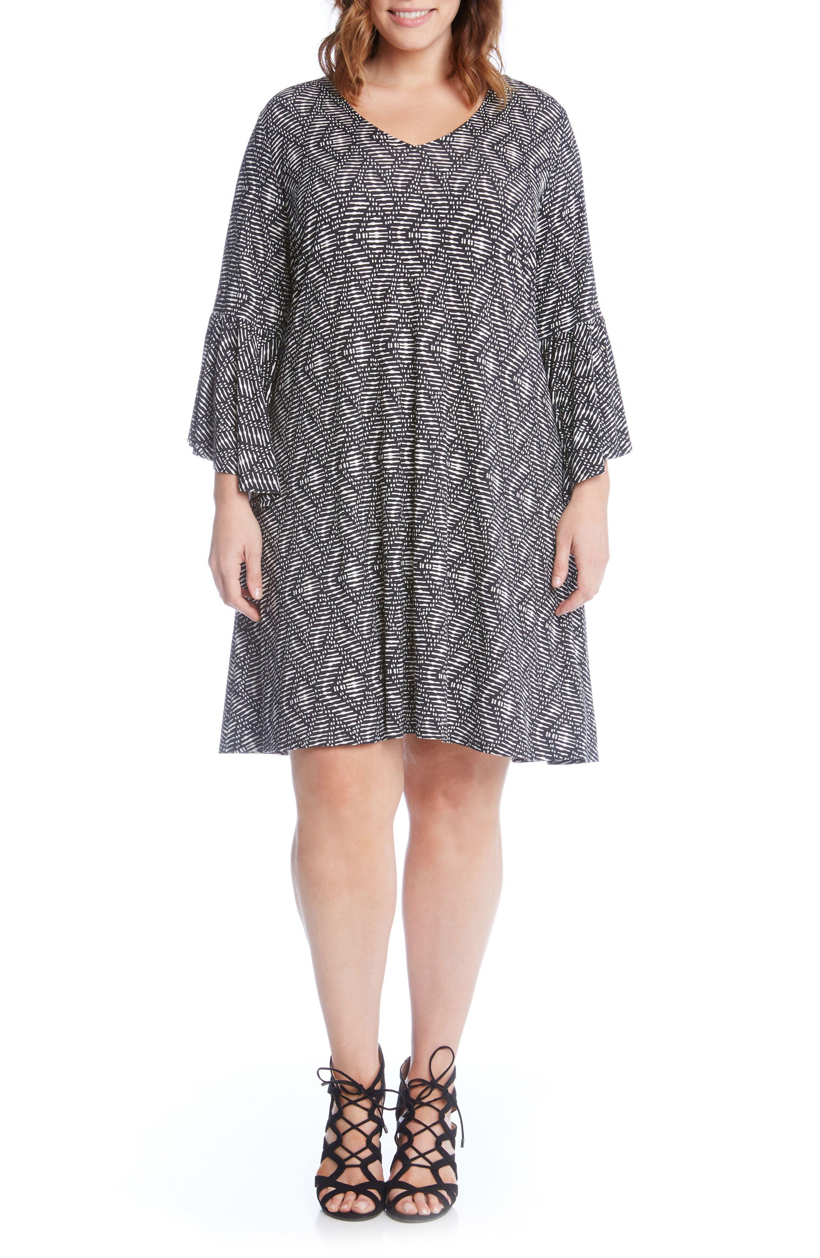 Alternate Image 1 Selected - Karen Kane Bell Sleeve Swing Dress (Plus Size)