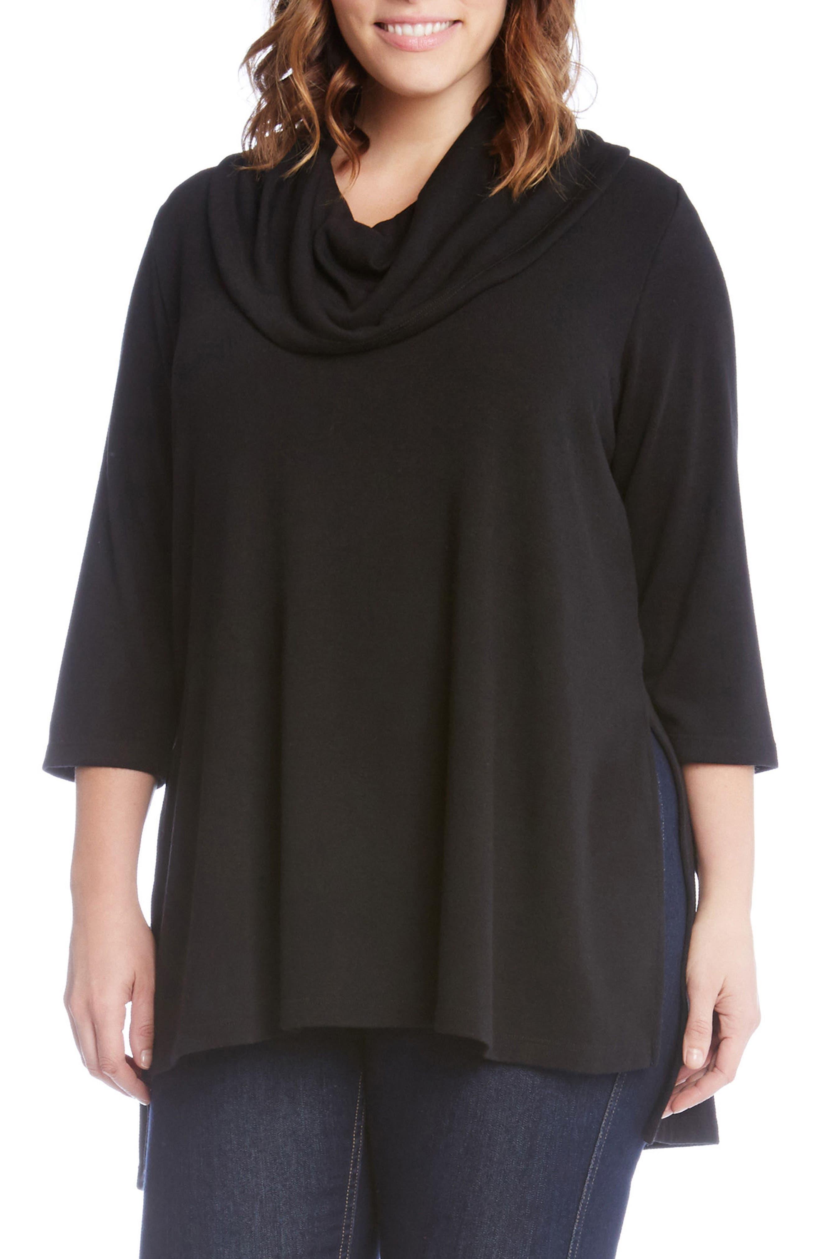 Karen Kane Cowl Neck High/Low Sweater (Plus Size)