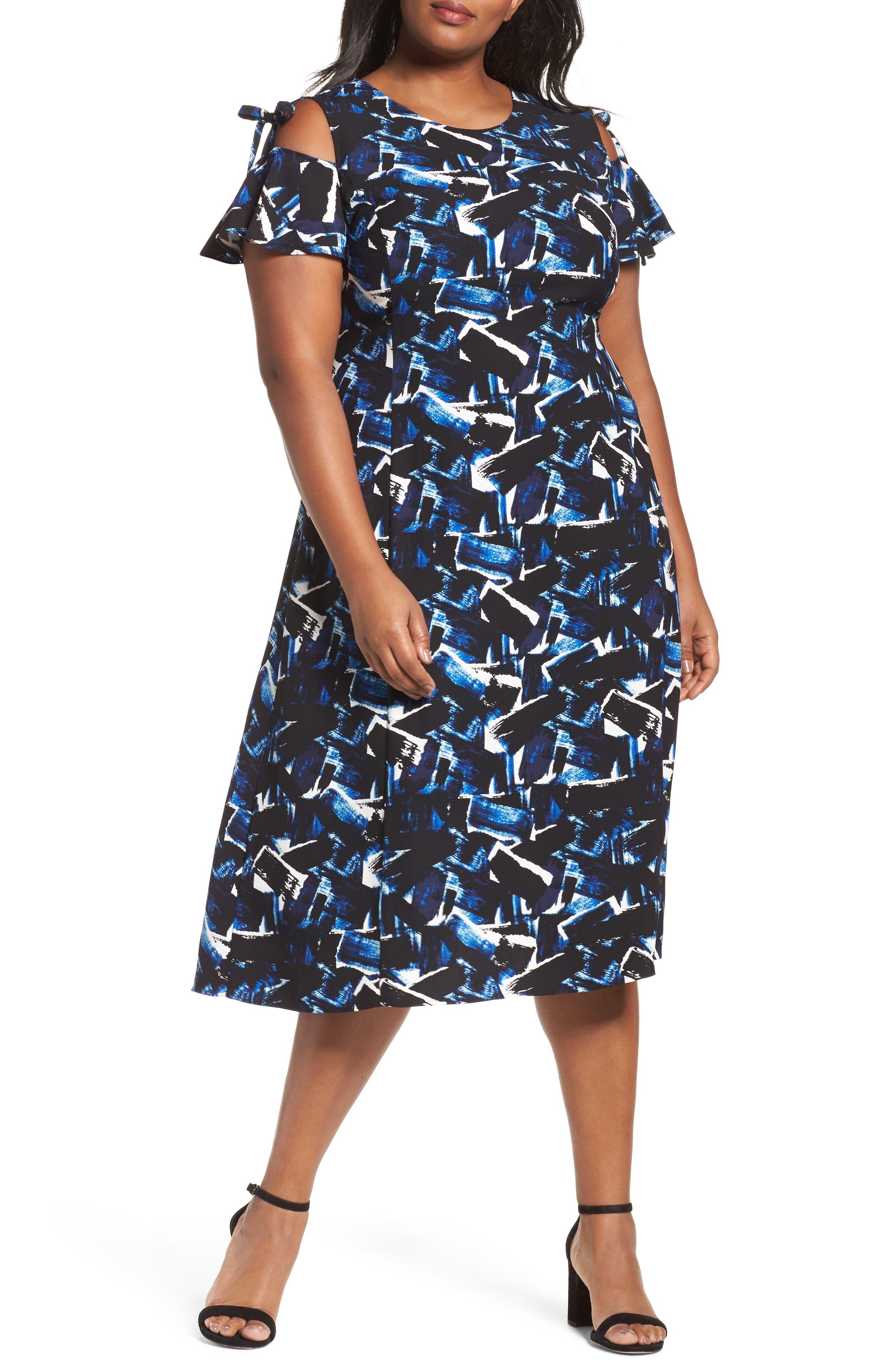 Main Image - Sejour Cold Shoulder A-Line Dress (Plus Size)