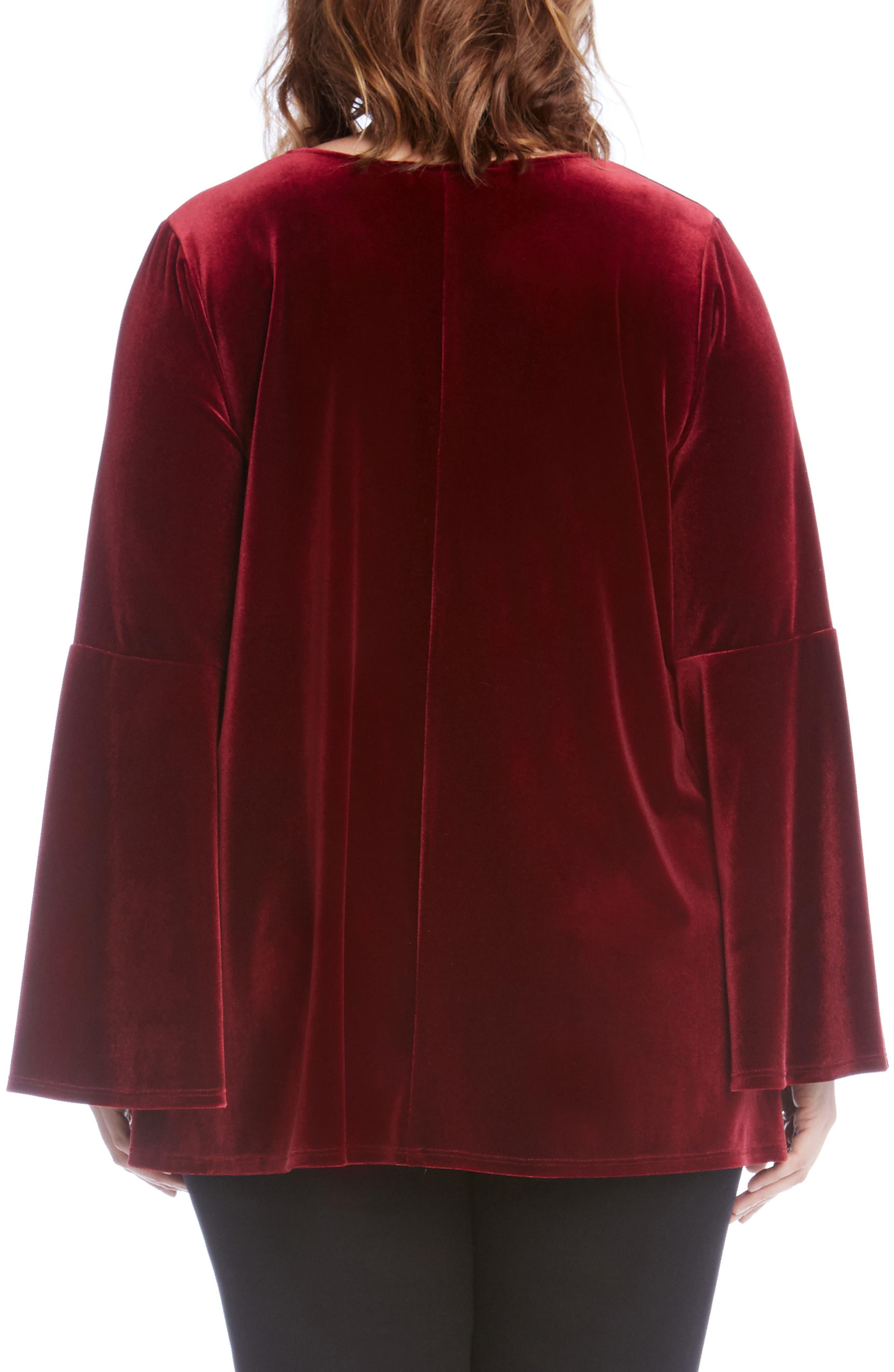 Bell Sleeve Velvet Top,                             Alternate thumbnail 3, color,                             Burgundy