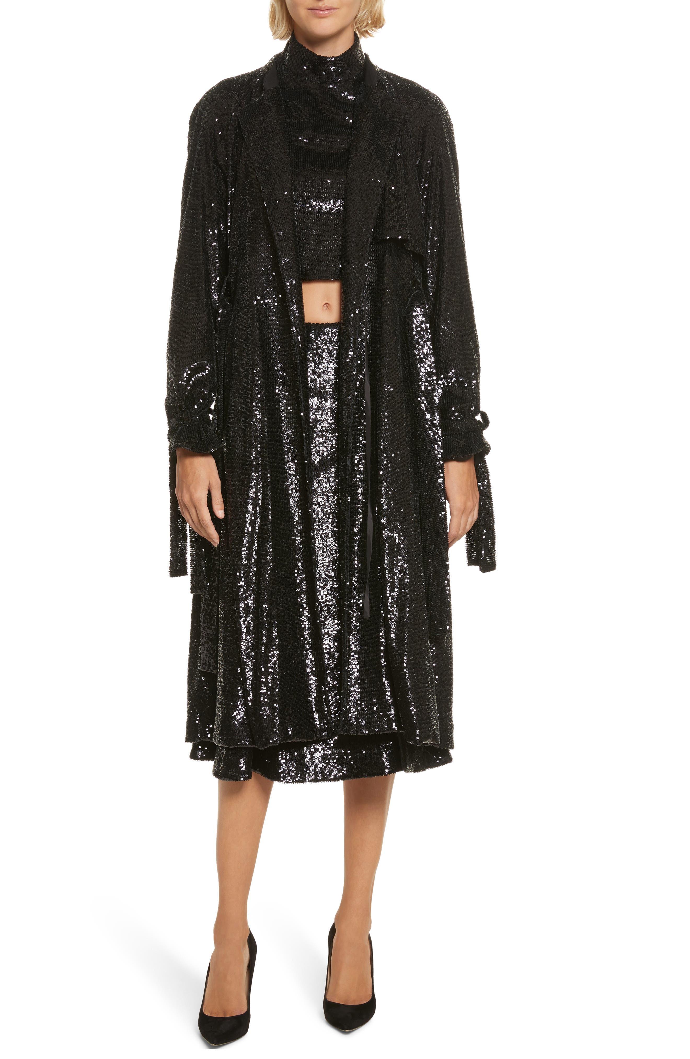 Holloway Sequin Coat,                         Main,                         color, Black