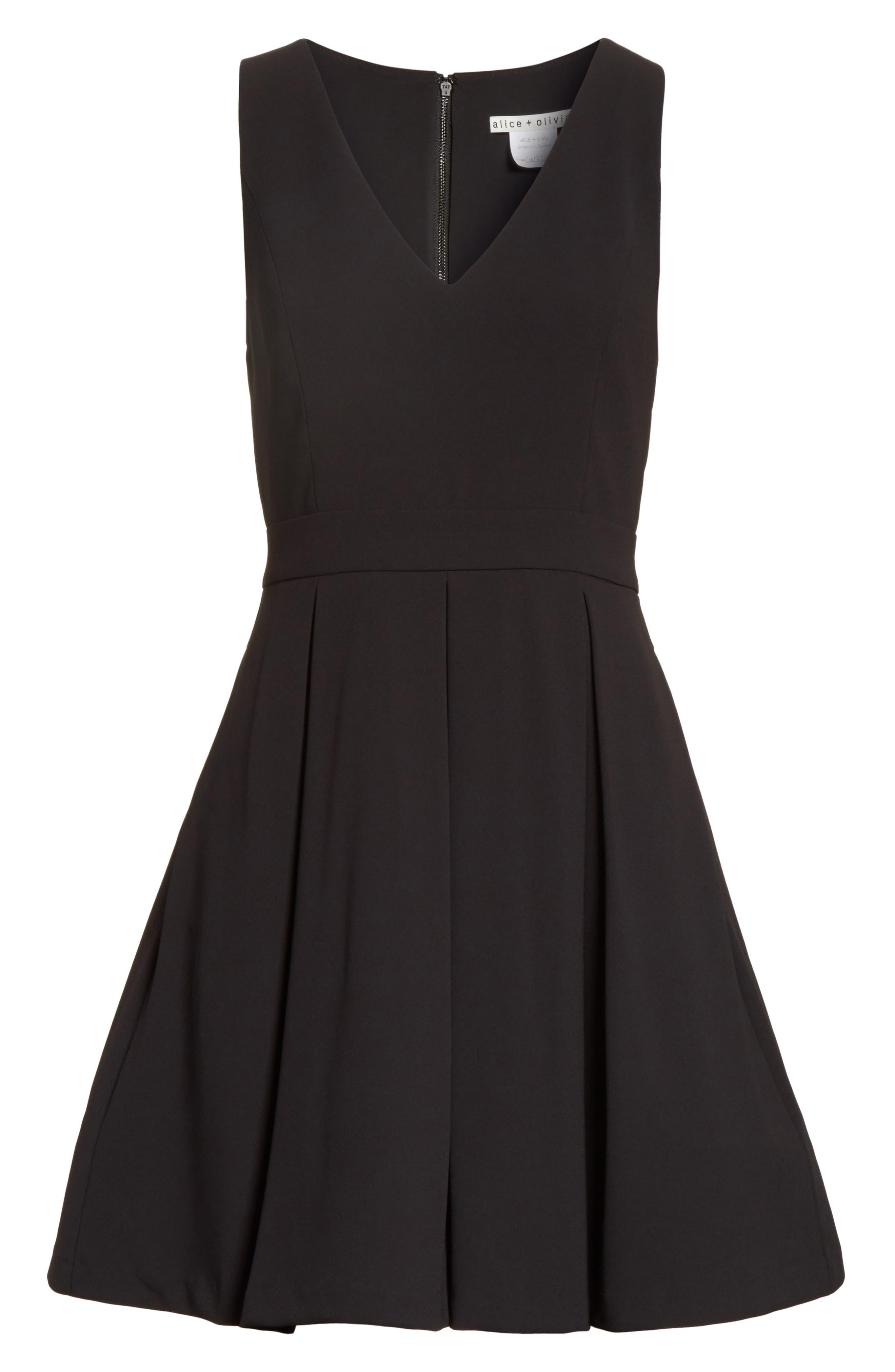 Julieta Inverted Pleat Fit & Flare Dress,                             Alternate thumbnail 6, color,                             Black