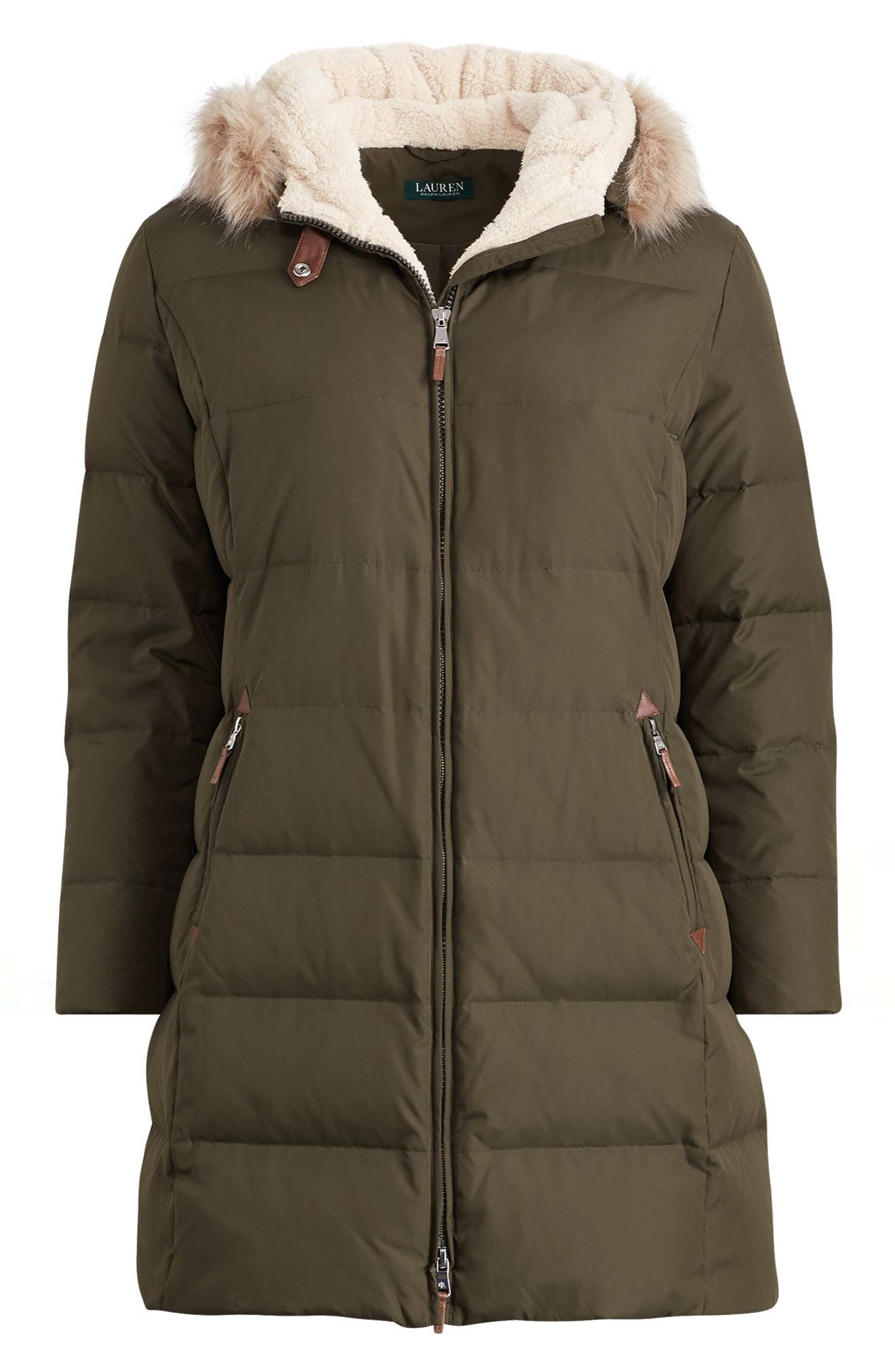 Quilted Down & Feather Fill Parka with Faux Fur Trim,                             Alternate thumbnail 4, color,                             Litchfield Loden