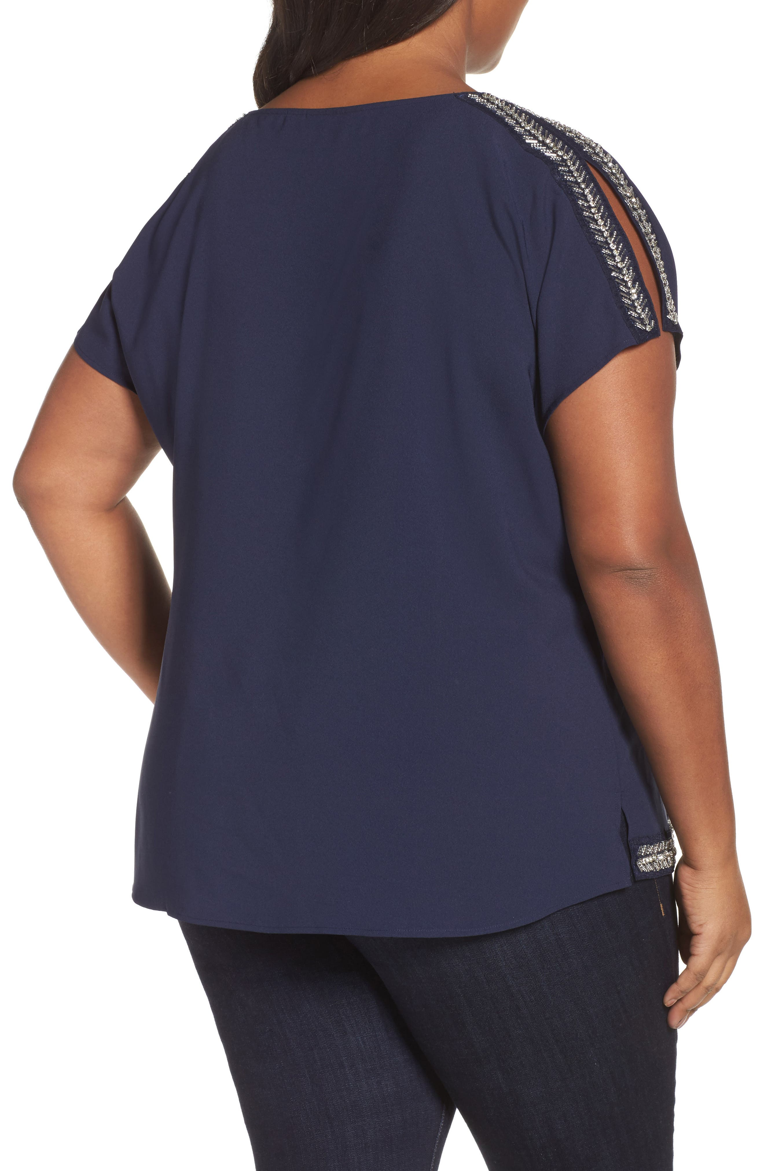 Embellished Slit Sleeve Blouse,                             Alternate thumbnail 2, color,                             Navy Peacoat