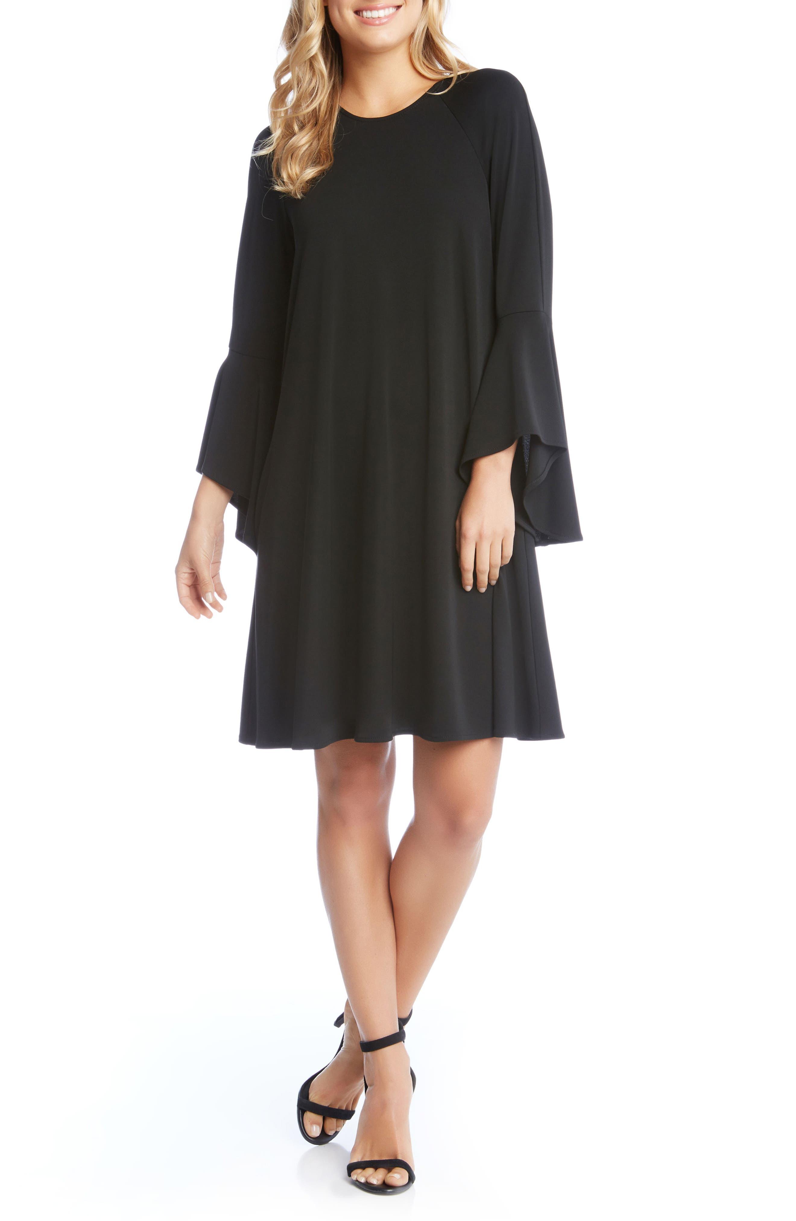 Bell Cuff Swing Dress,                         Main,                         color, Black