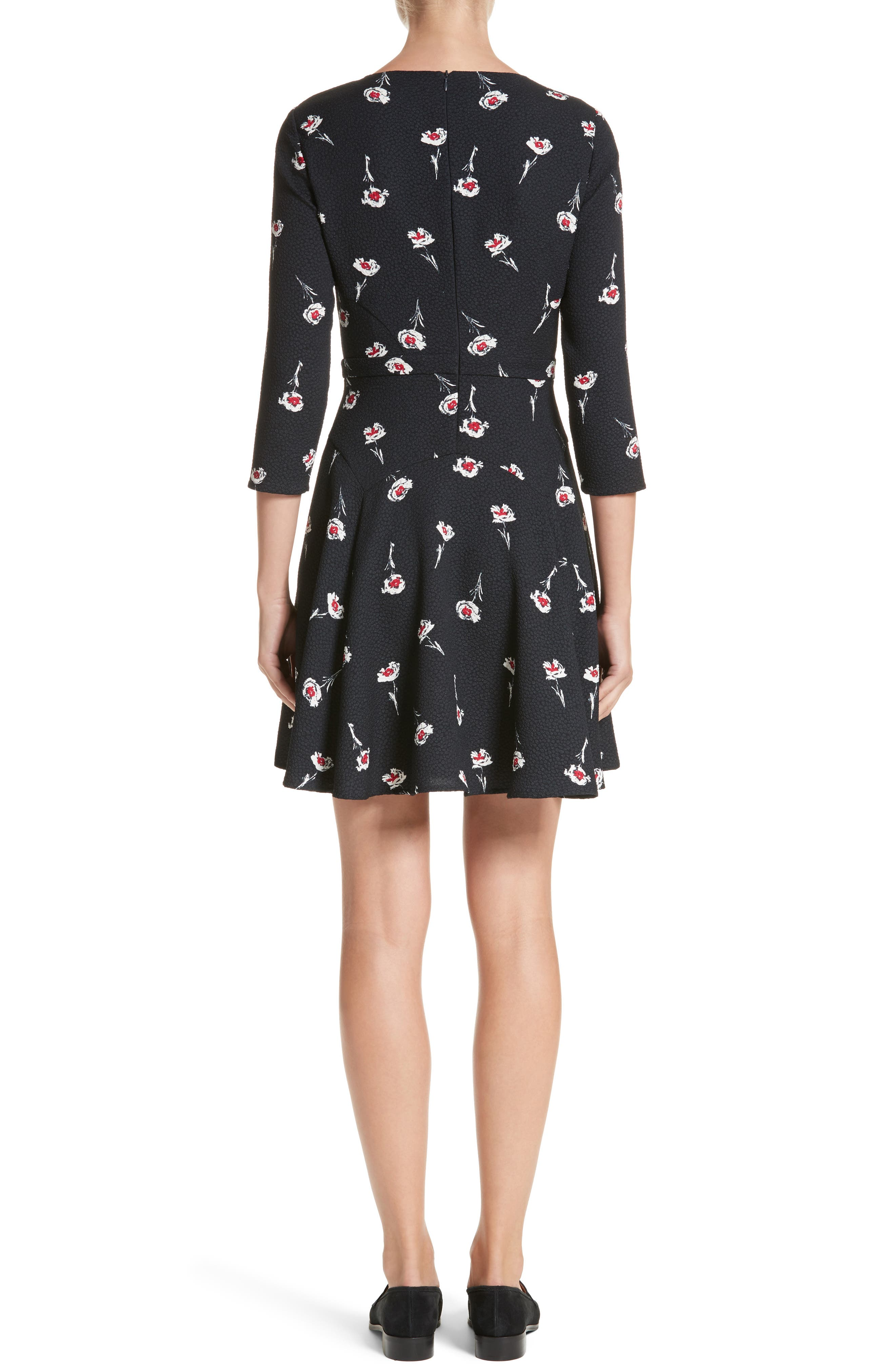 Floral Print Fit & Flare Dress,                             Alternate thumbnail 2, color,                             Floral