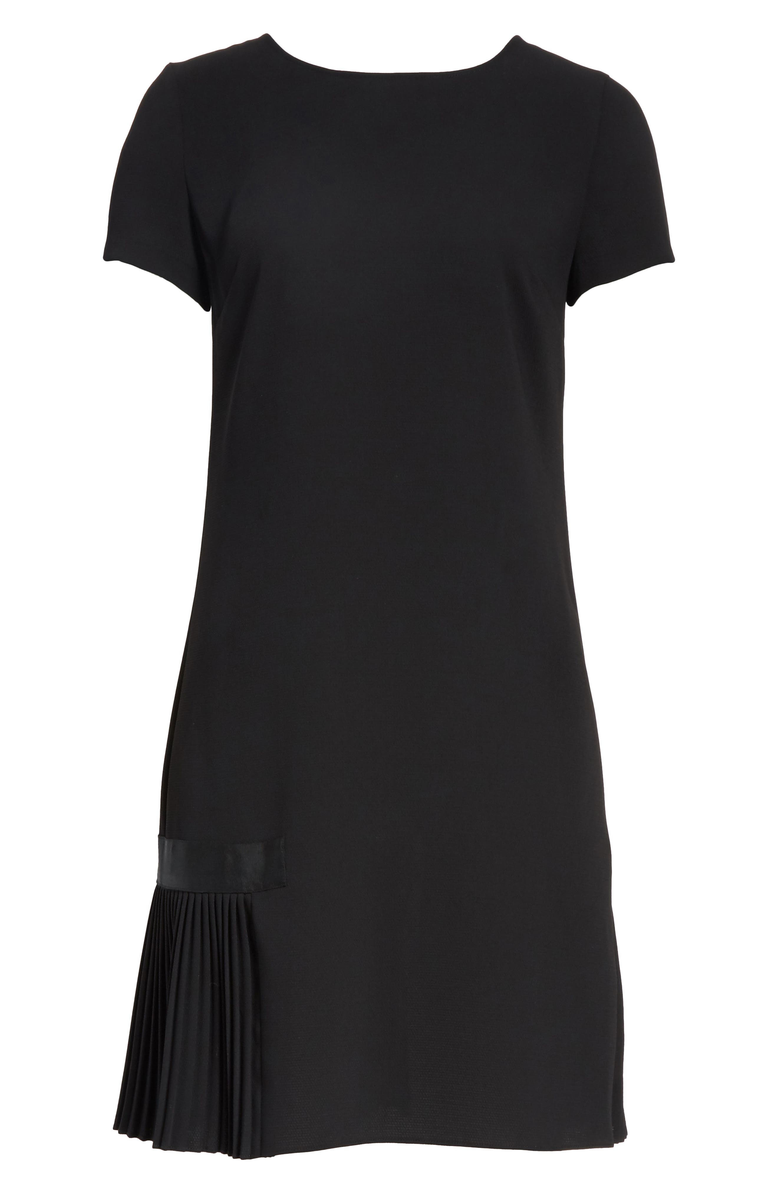 Crepe Pleated Hem Dress,                             Alternate thumbnail 7, color,                             Black