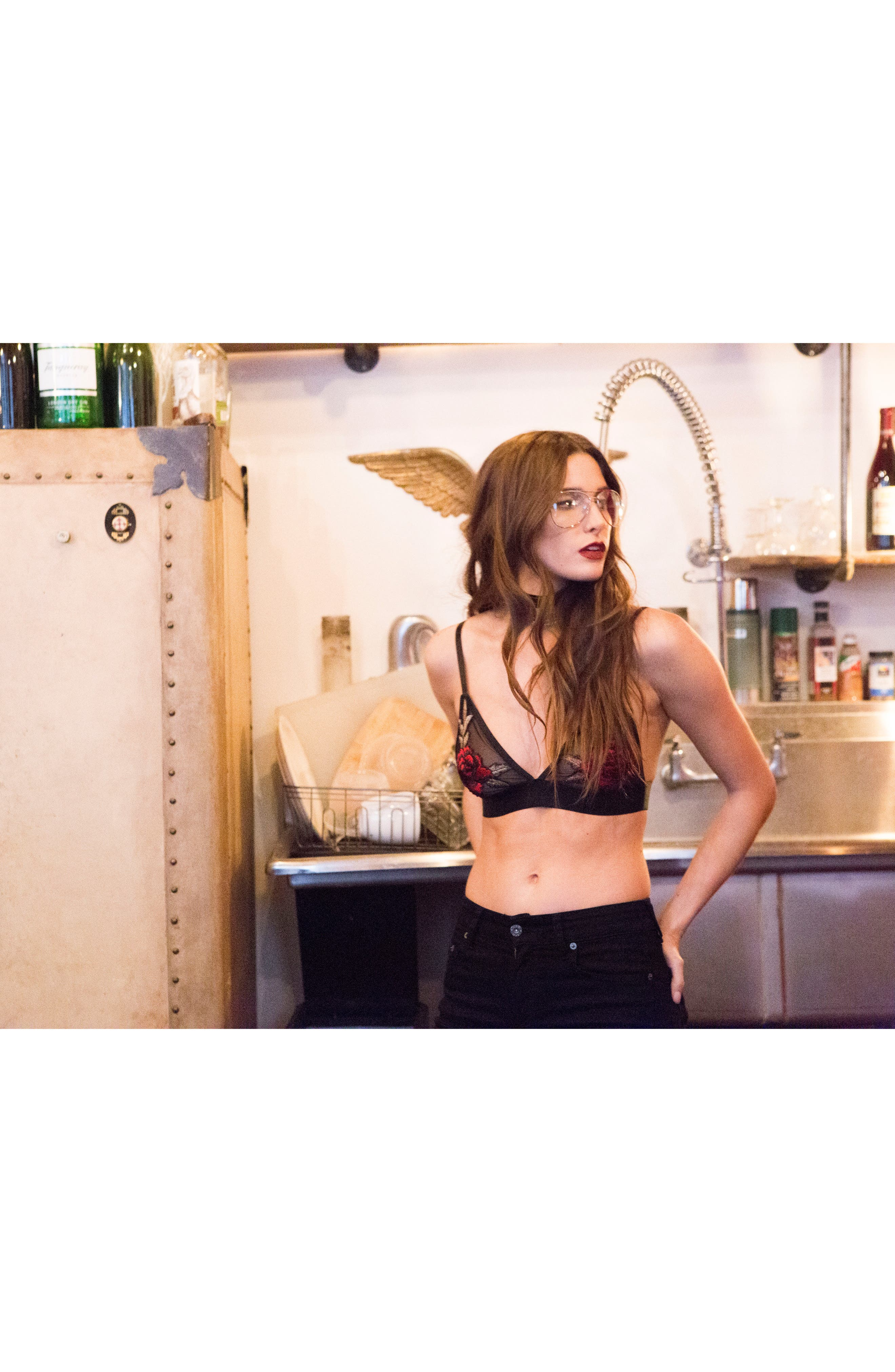 De la Rosa Bralette,                             Alternate thumbnail 5, color,                             Black