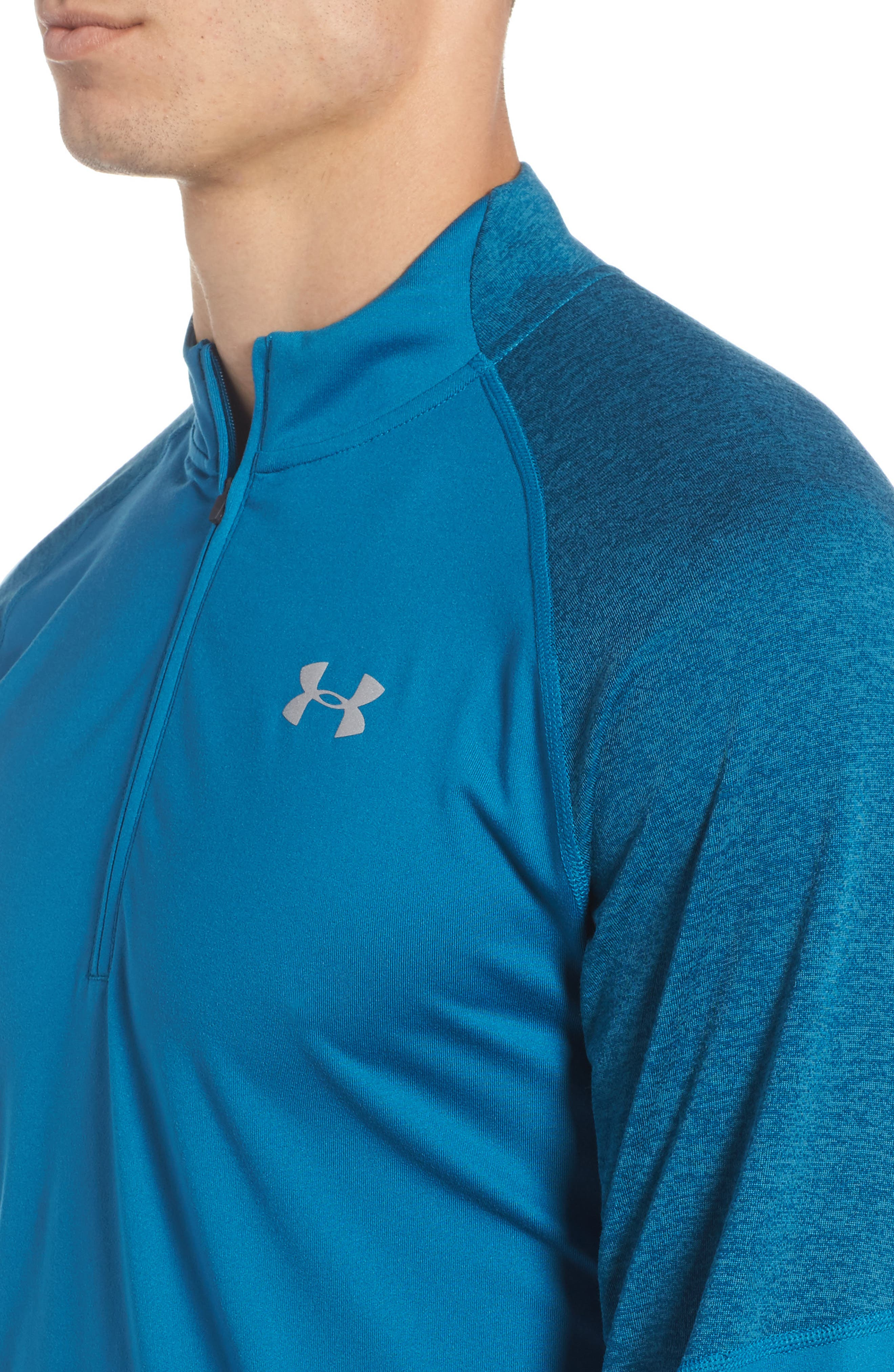 Threadborne Quarter Zip Performance T-Shirt,                             Alternate thumbnail 4, color,                             Bayou Blue / Reflective