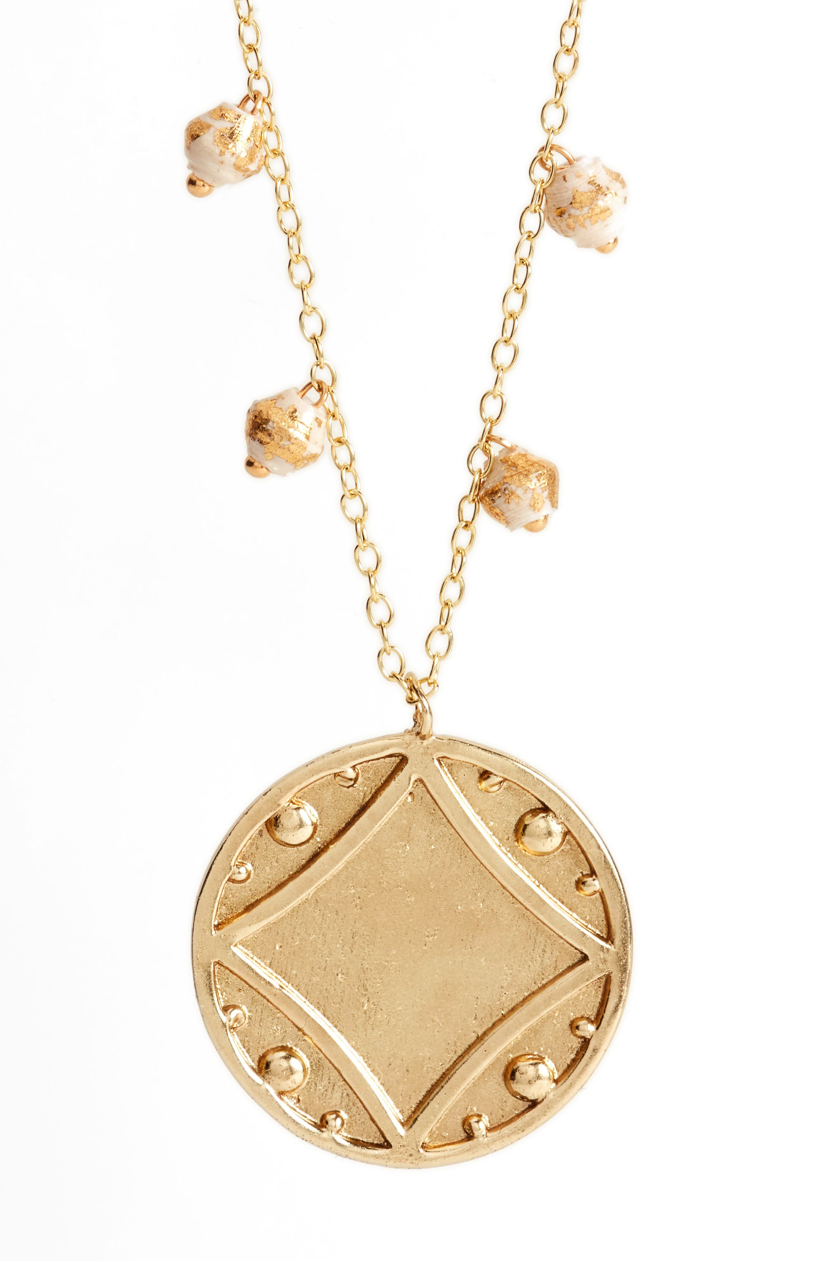 Early Light Pendant Necklace,                             Alternate thumbnail 3, color,                             Cream/ Gold