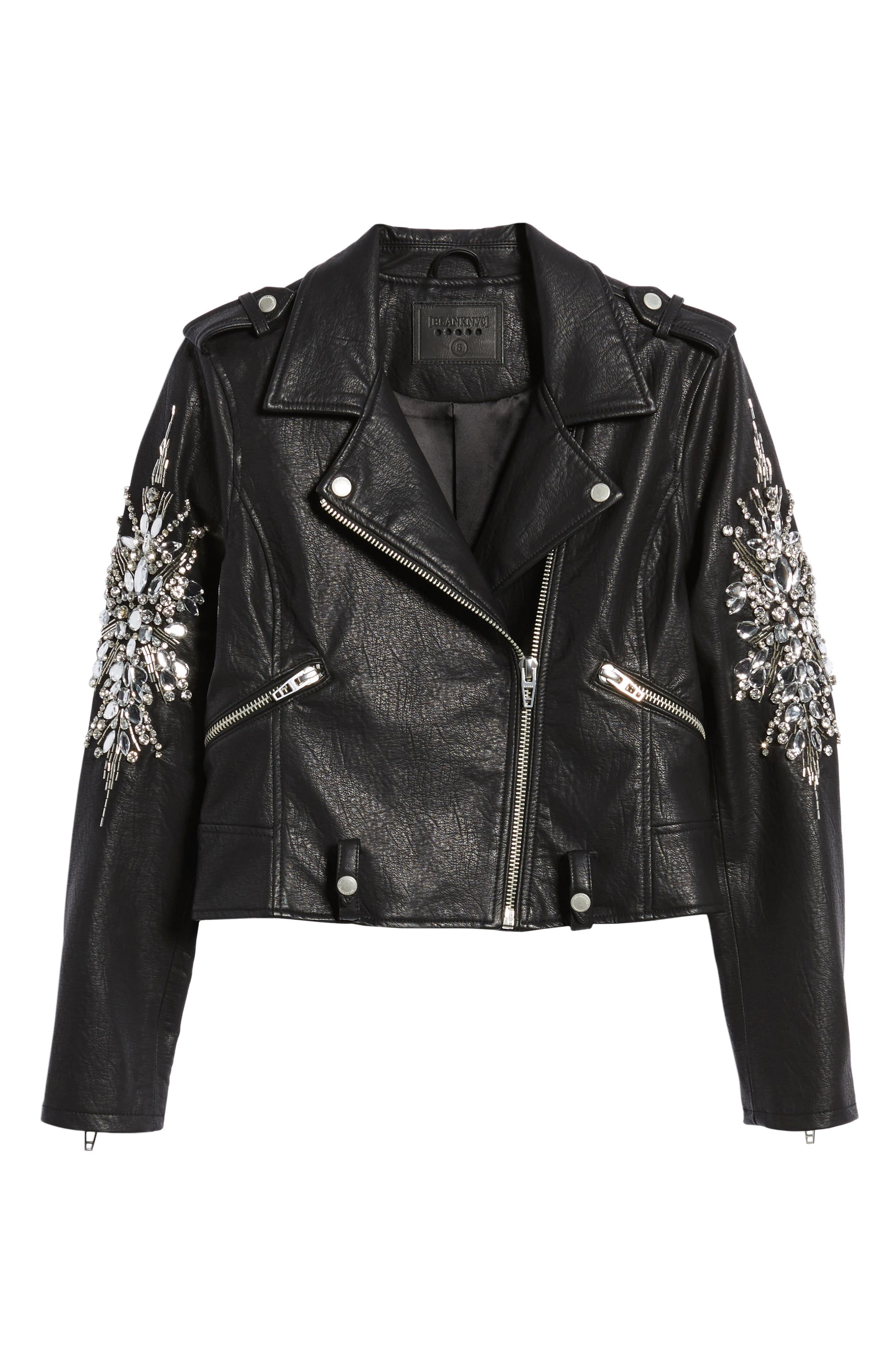 Alternate Image 6  - BLANKNYC Embellished Faux Leather Moto Jacket