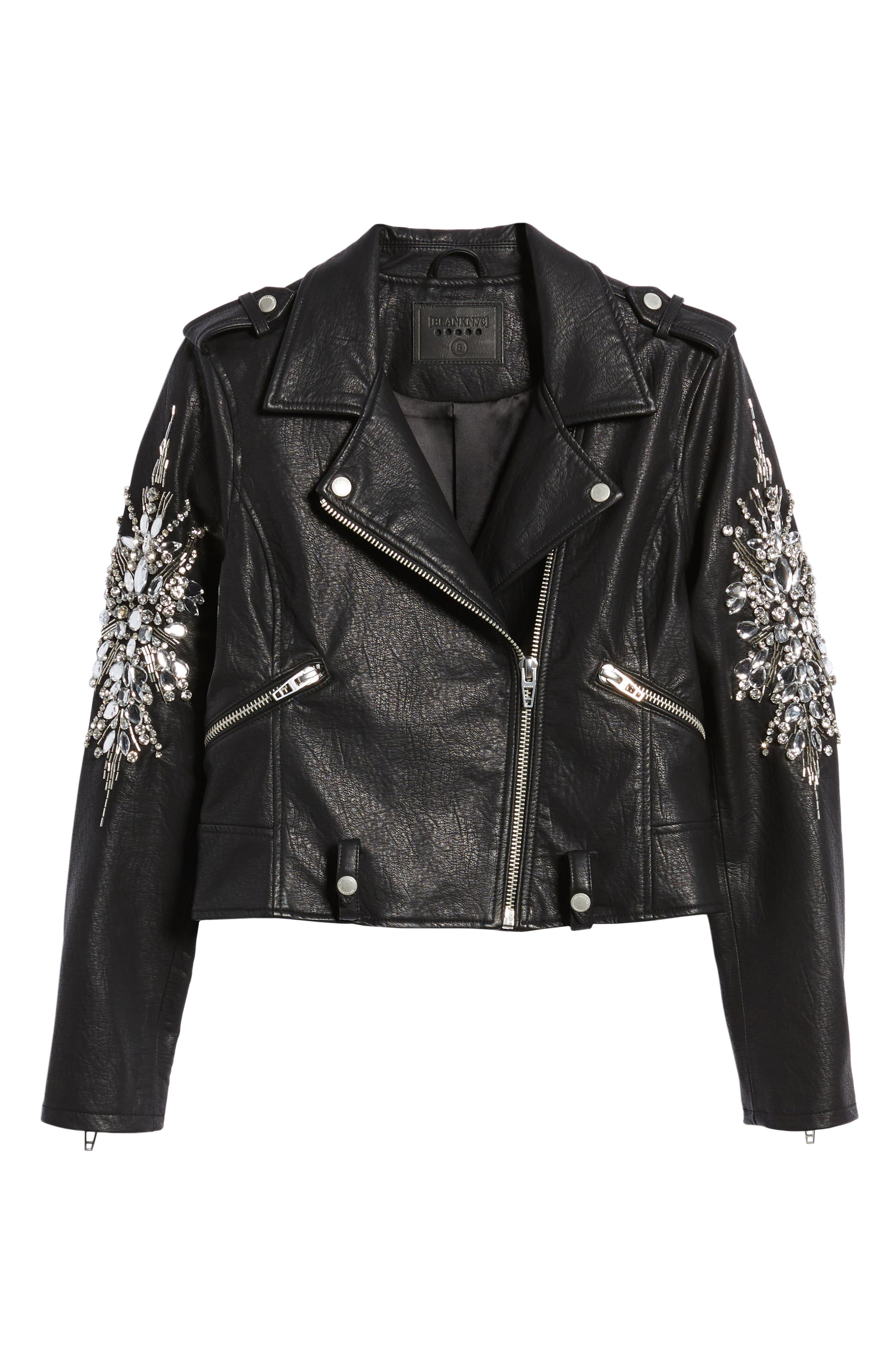 Embellished Faux Leather Moto Jacket,                             Alternate thumbnail 6, color,                             Crown Jewels