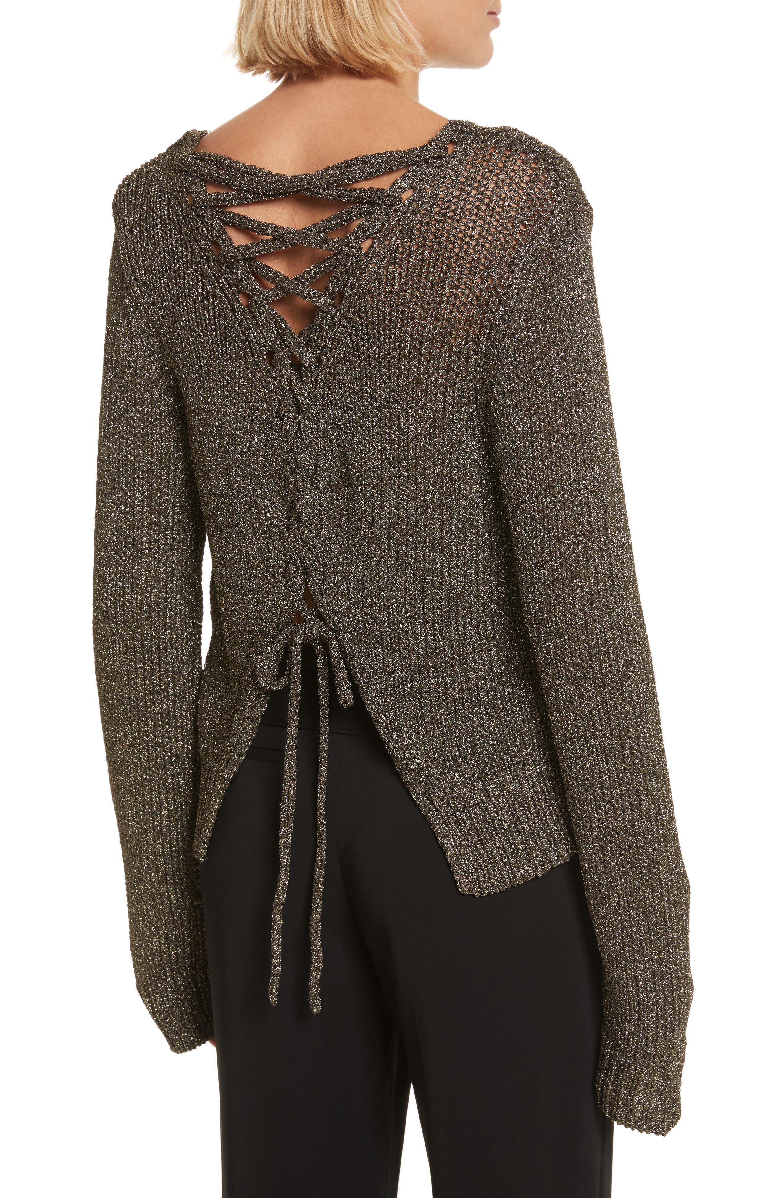 Marjorie Lace-Up Back Sweater,                         Main,                         color, Black/ Gold