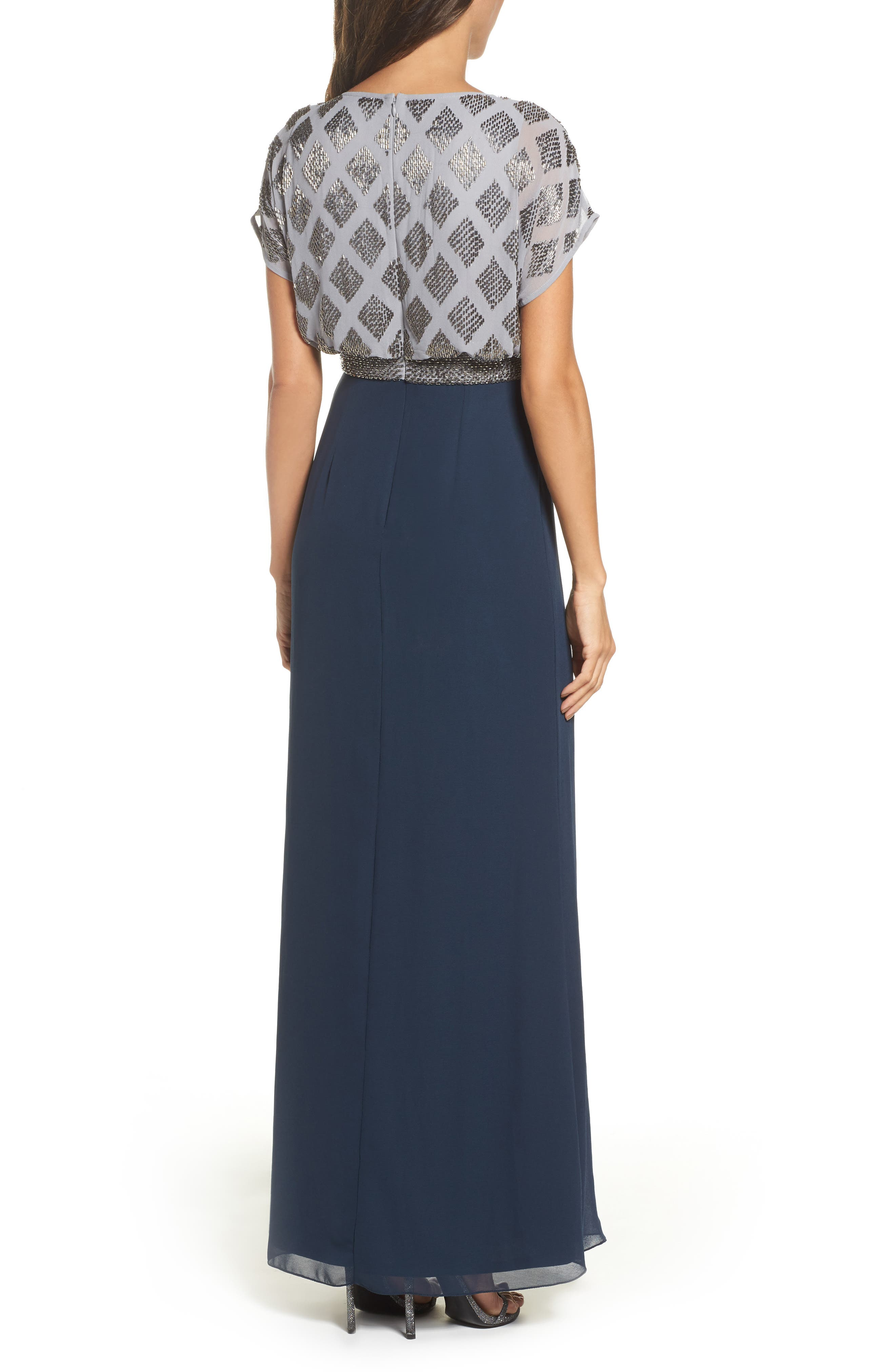 Beaded Colorblock Blouson Gown,                             Alternate thumbnail 2, color,                             Silver/ Navy