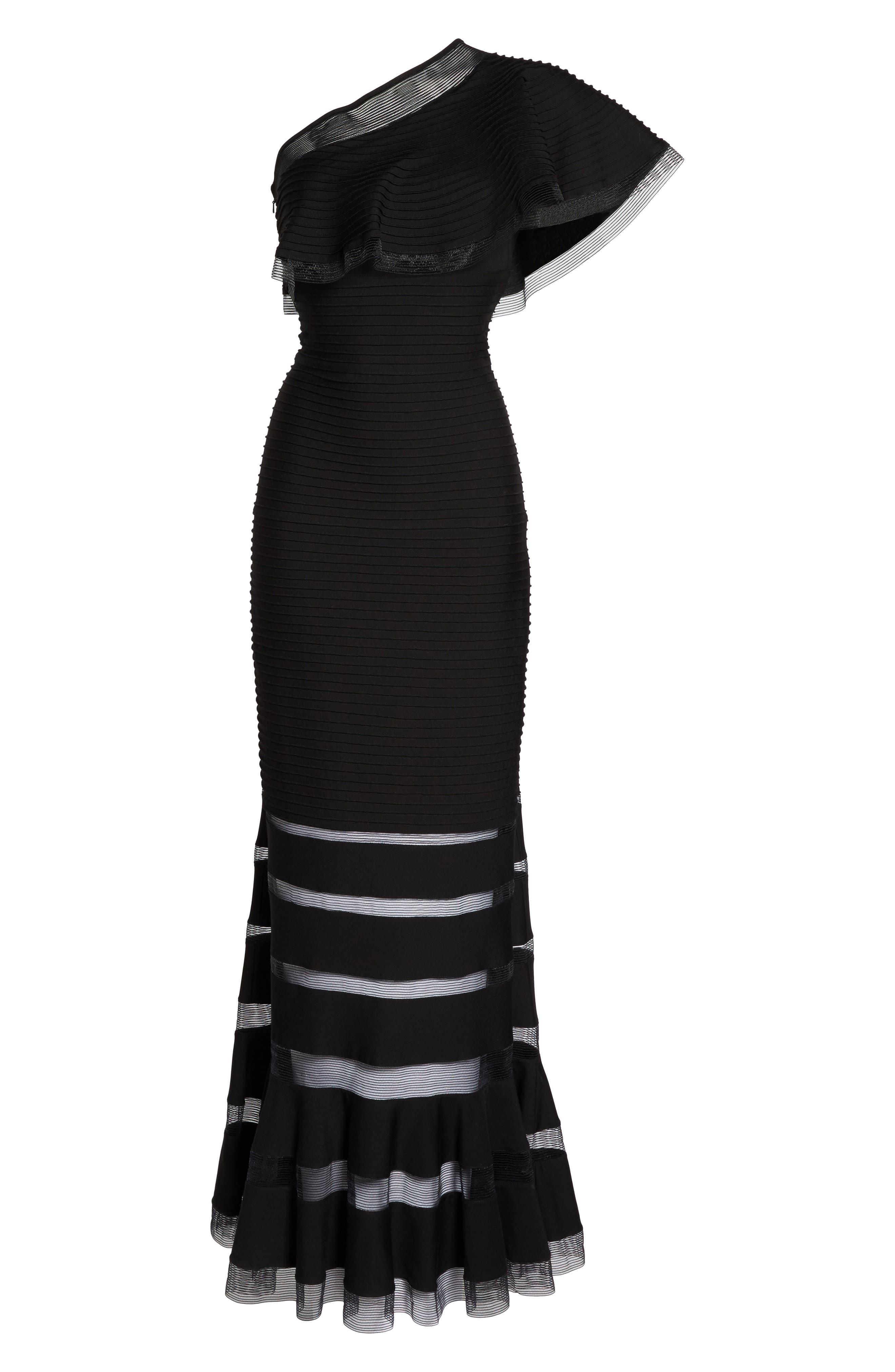 Alternate Image 6  - Tadashi Shoji Pintuck One-Shoulder Gown (Regular & Petite)