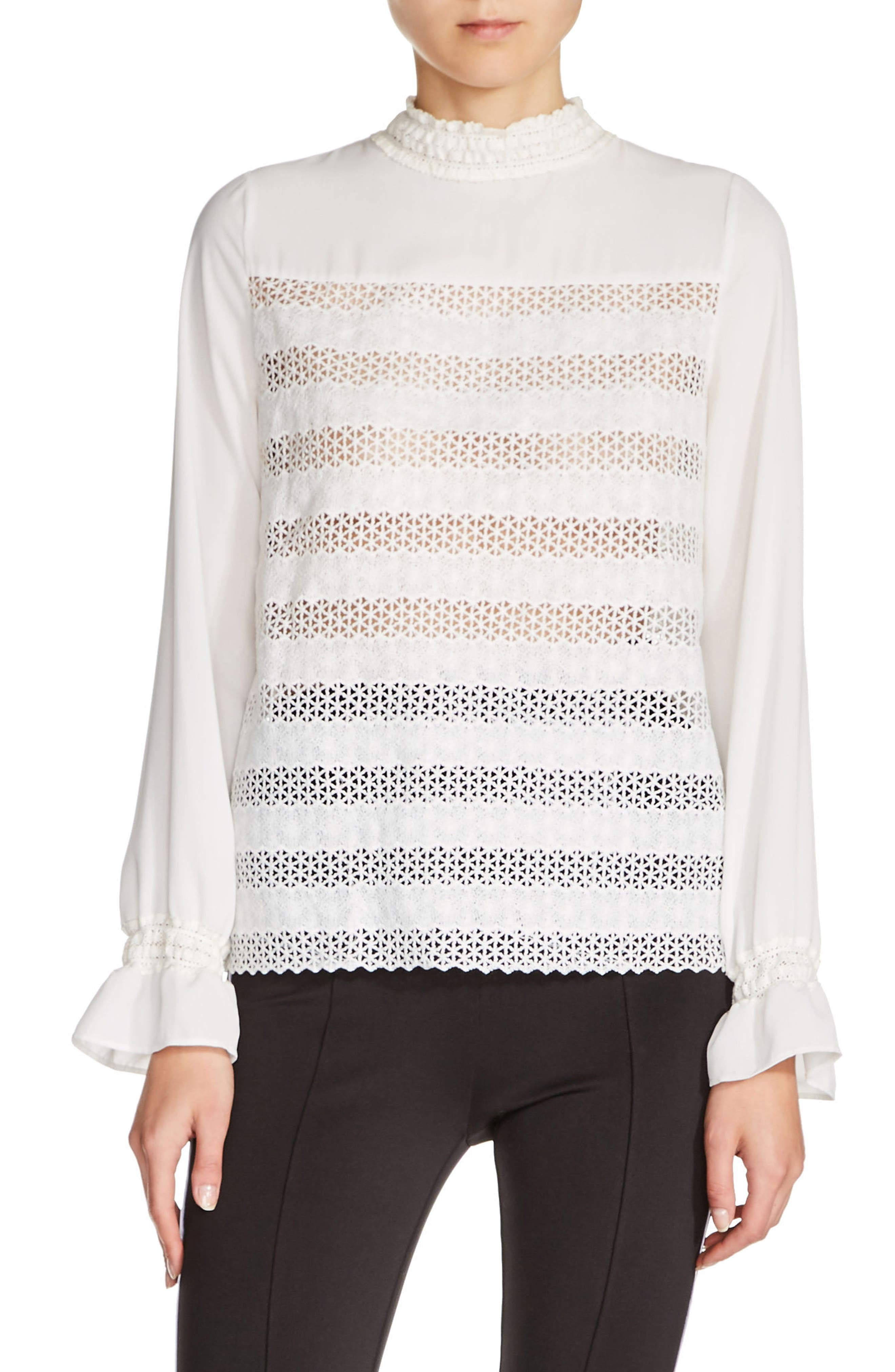 Embroidered Lace Top,                         Main,                         color, Ecru