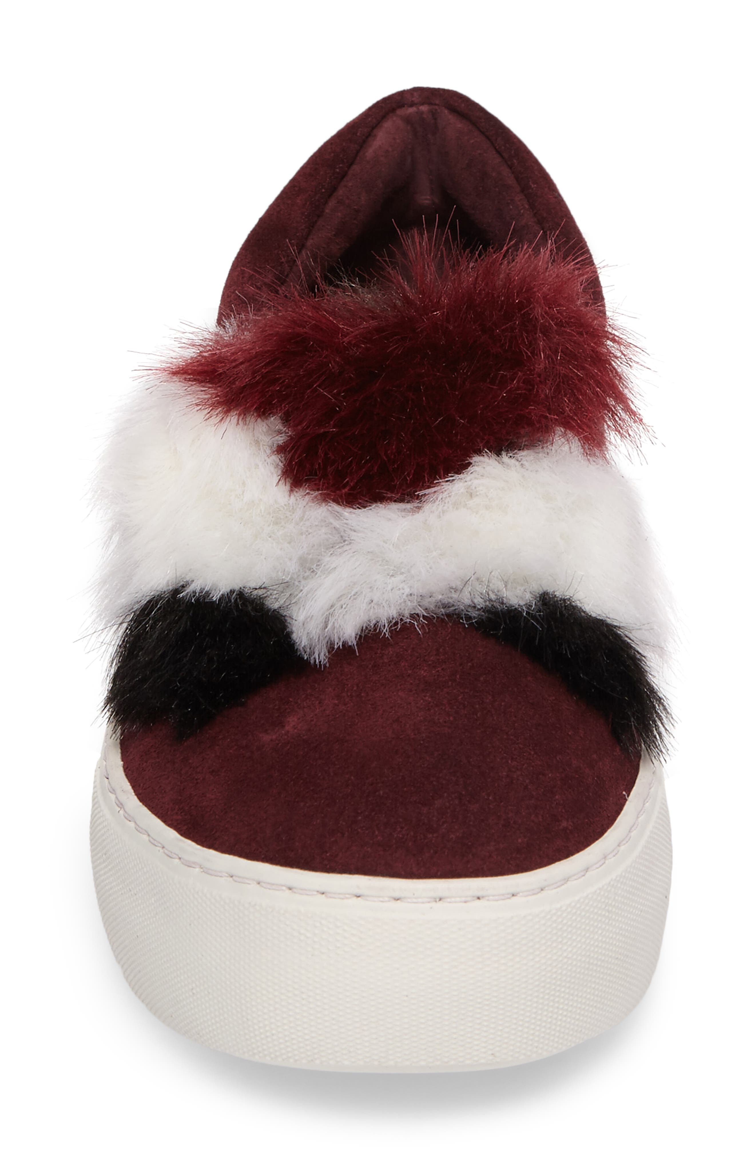 Alexi Faux Fur Slip-On Sneaker,                             Alternate thumbnail 4, color,                             Burgundy Suede