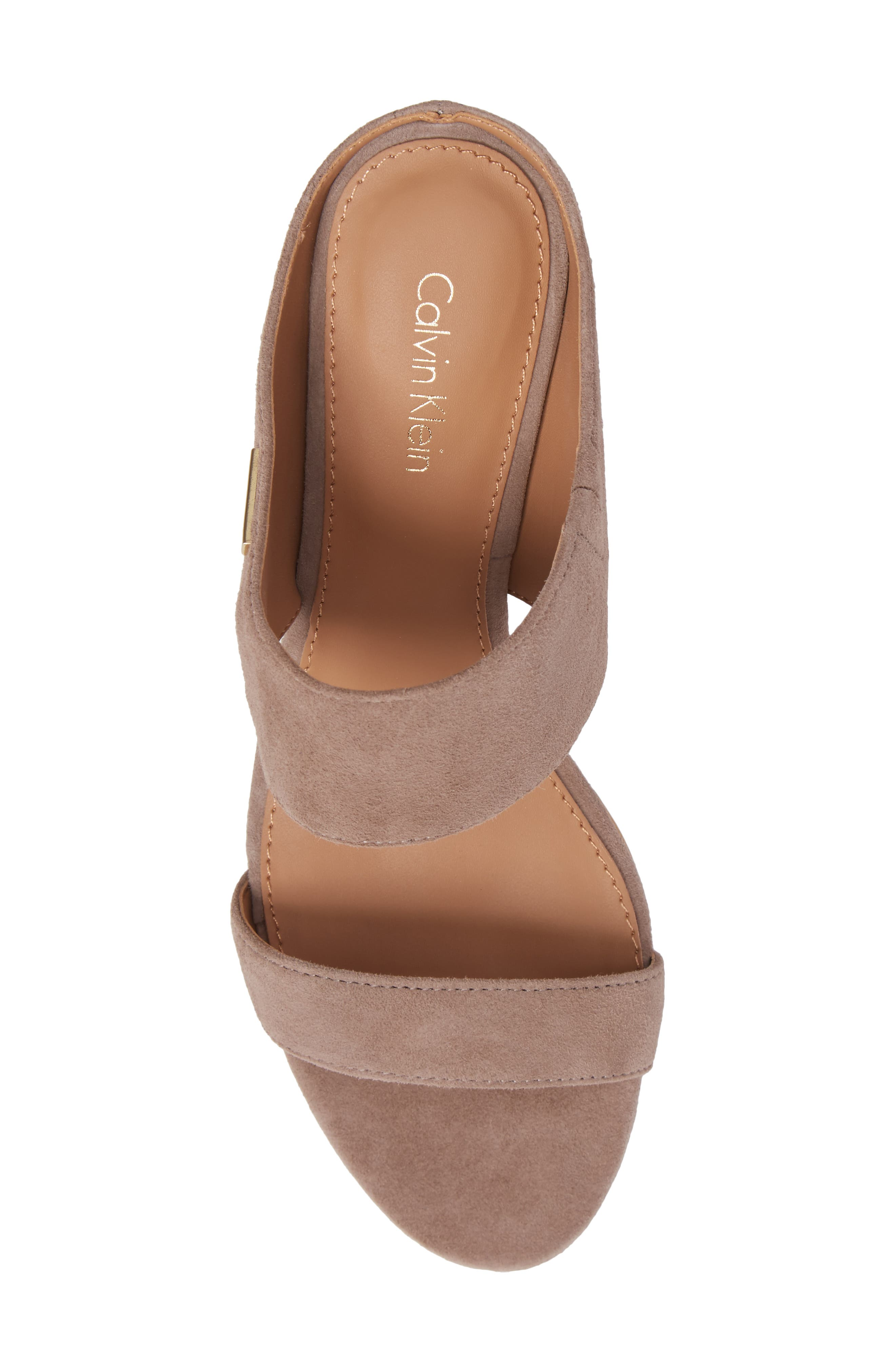 Phyllis Studded Wedge Sandal,                             Alternate thumbnail 5, color,                             Winter Taupe Suede