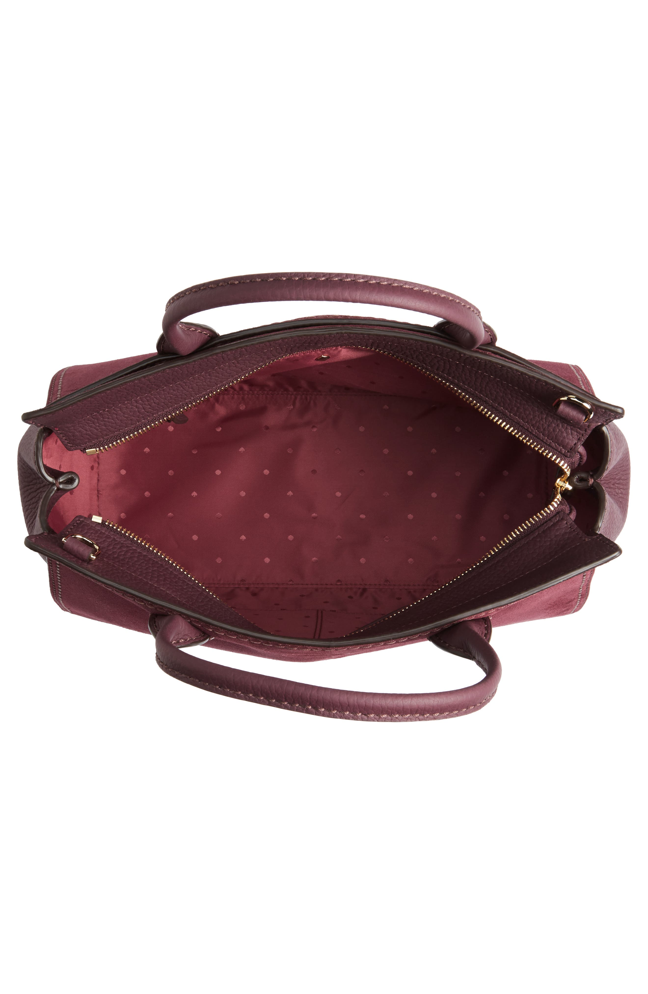 dunne lane lake suede satchel,                             Alternate thumbnail 4, color,                             Deep Wine