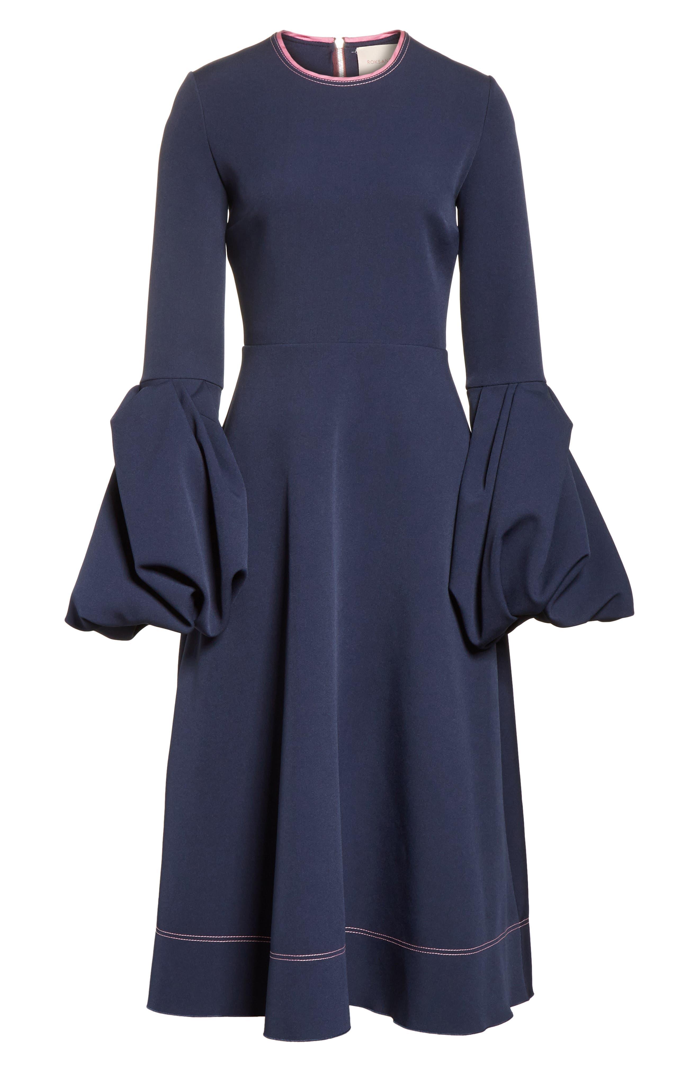 Aylin Bell Sleeve Dress,                             Alternate thumbnail 7, color,                             Squid Ink