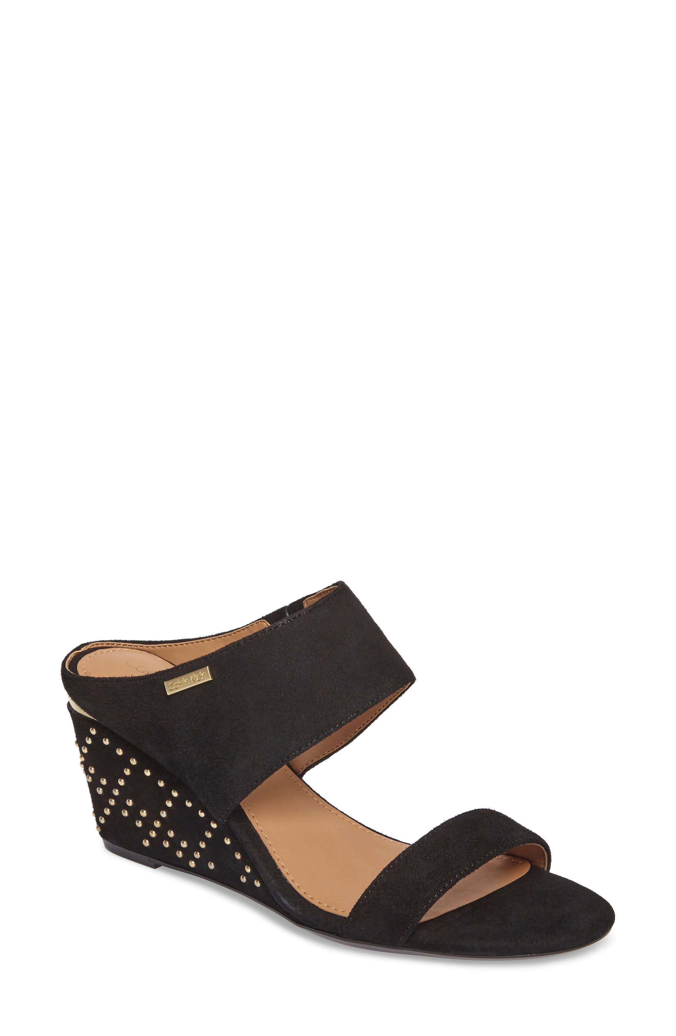 Calvin Klein Phyllis Studded Wedge Sandal (Women)