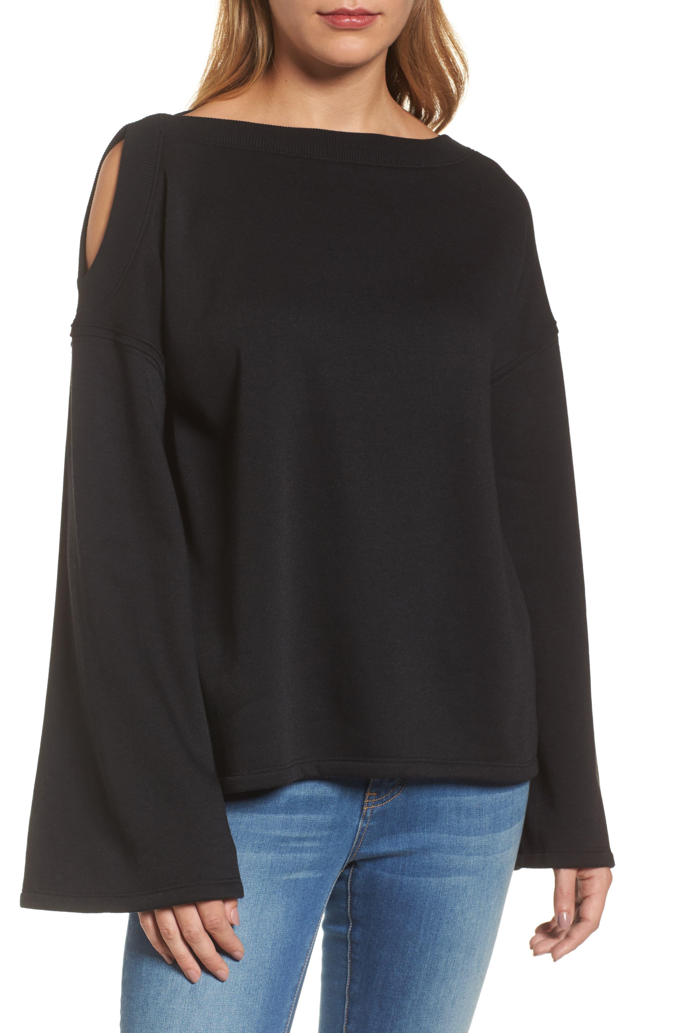 Caslon® Shoulder Detail Knit Top (Regular & Petite)