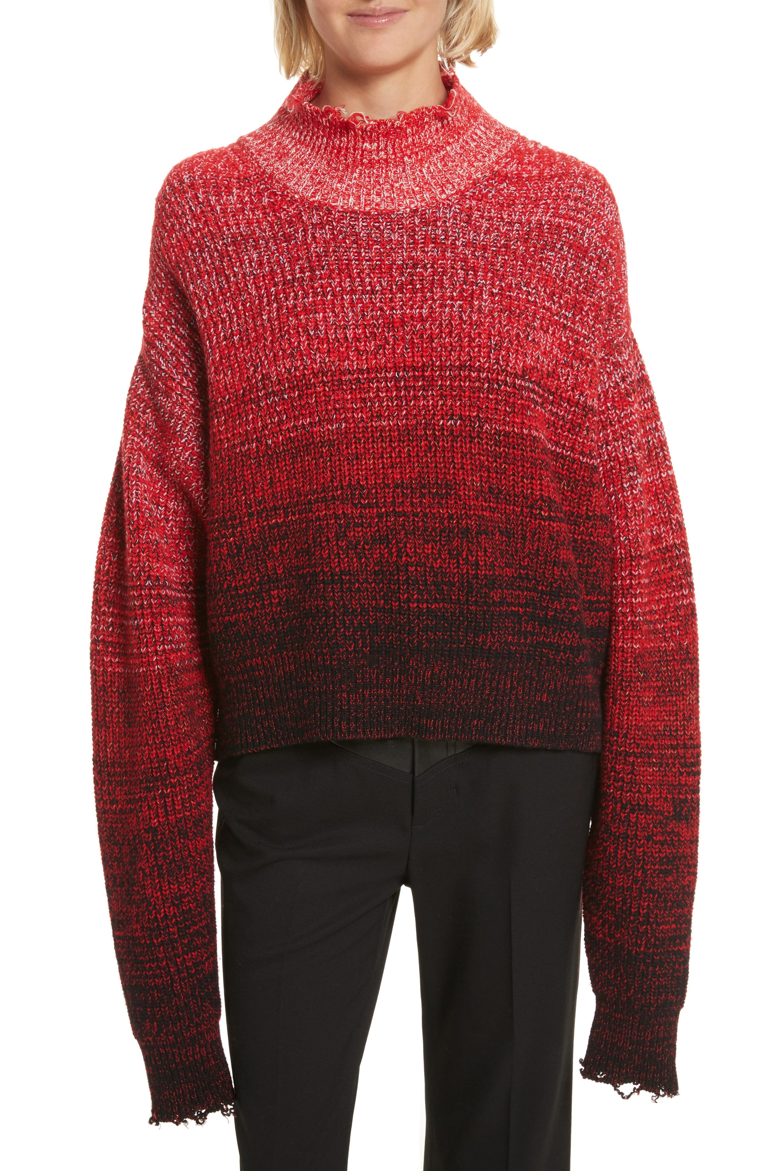 Distressed Marled Patchwork Turtleneck Sweater,                             Main thumbnail 1, color,                             Siren