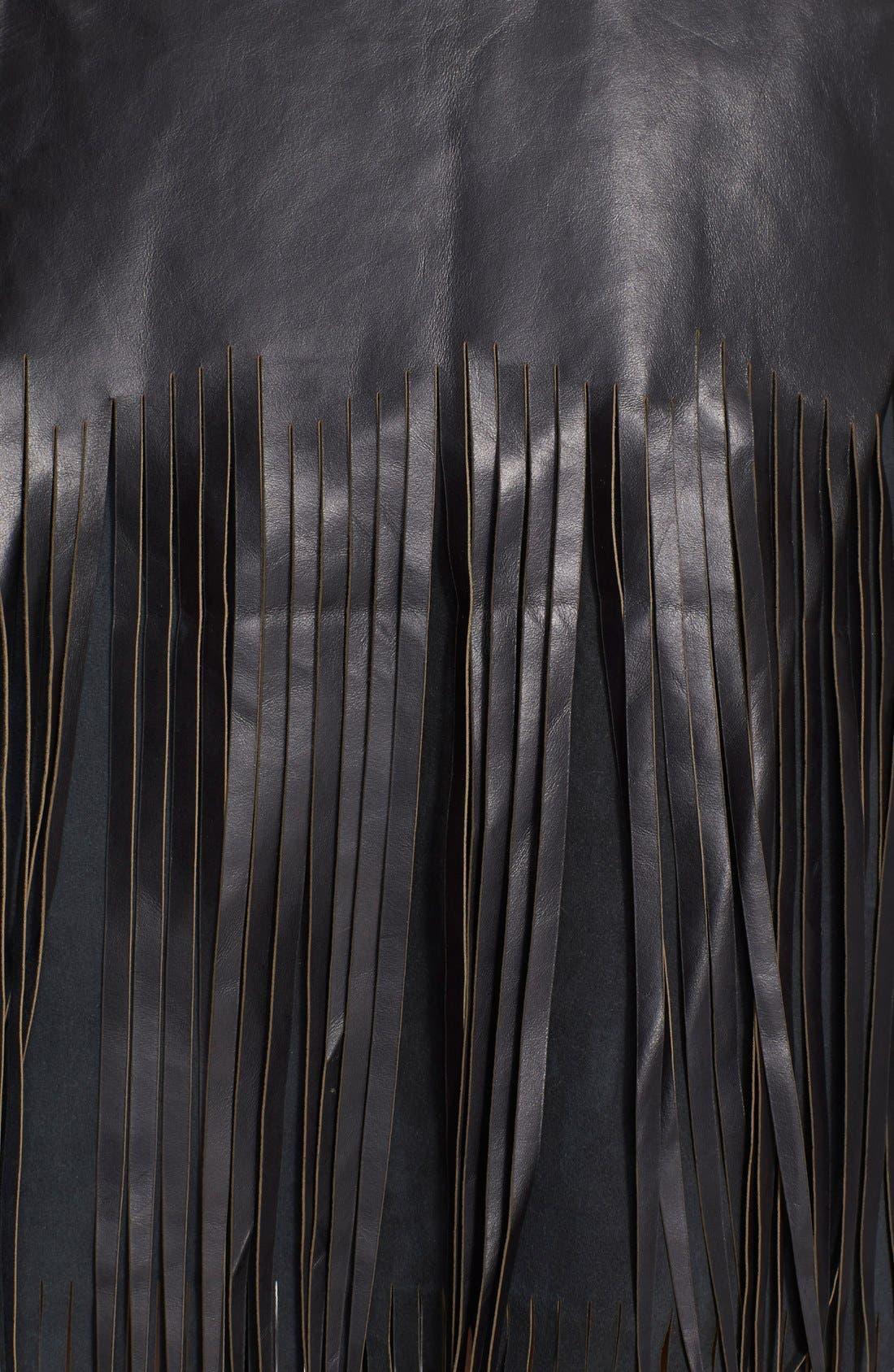 Alternate Image 3  - BLK DNM 'Leather Skirt 40' Fringe Miniskirt