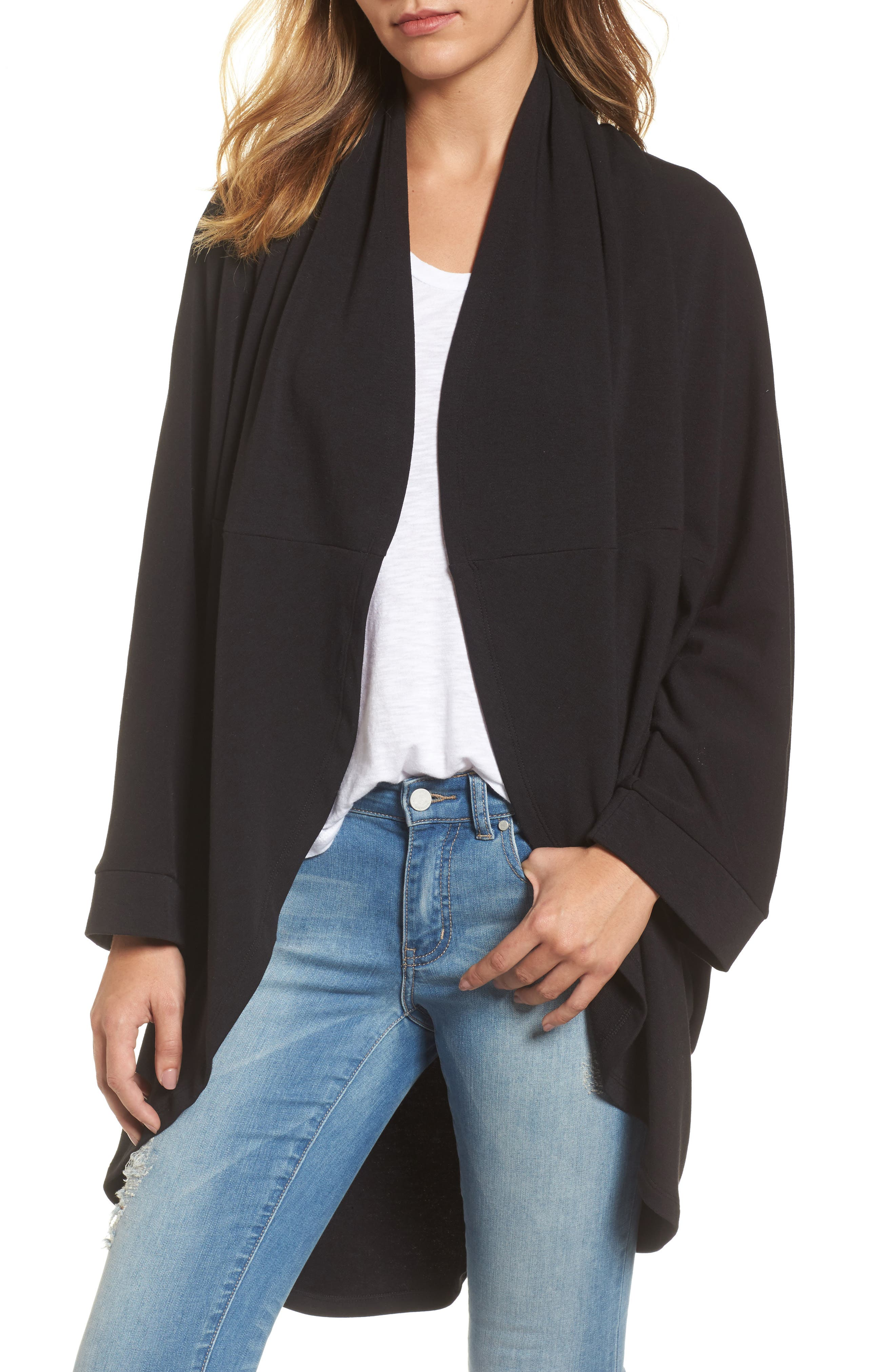 Cocoon Knit Midi Cardigan,                             Main thumbnail 1, color,                             Black