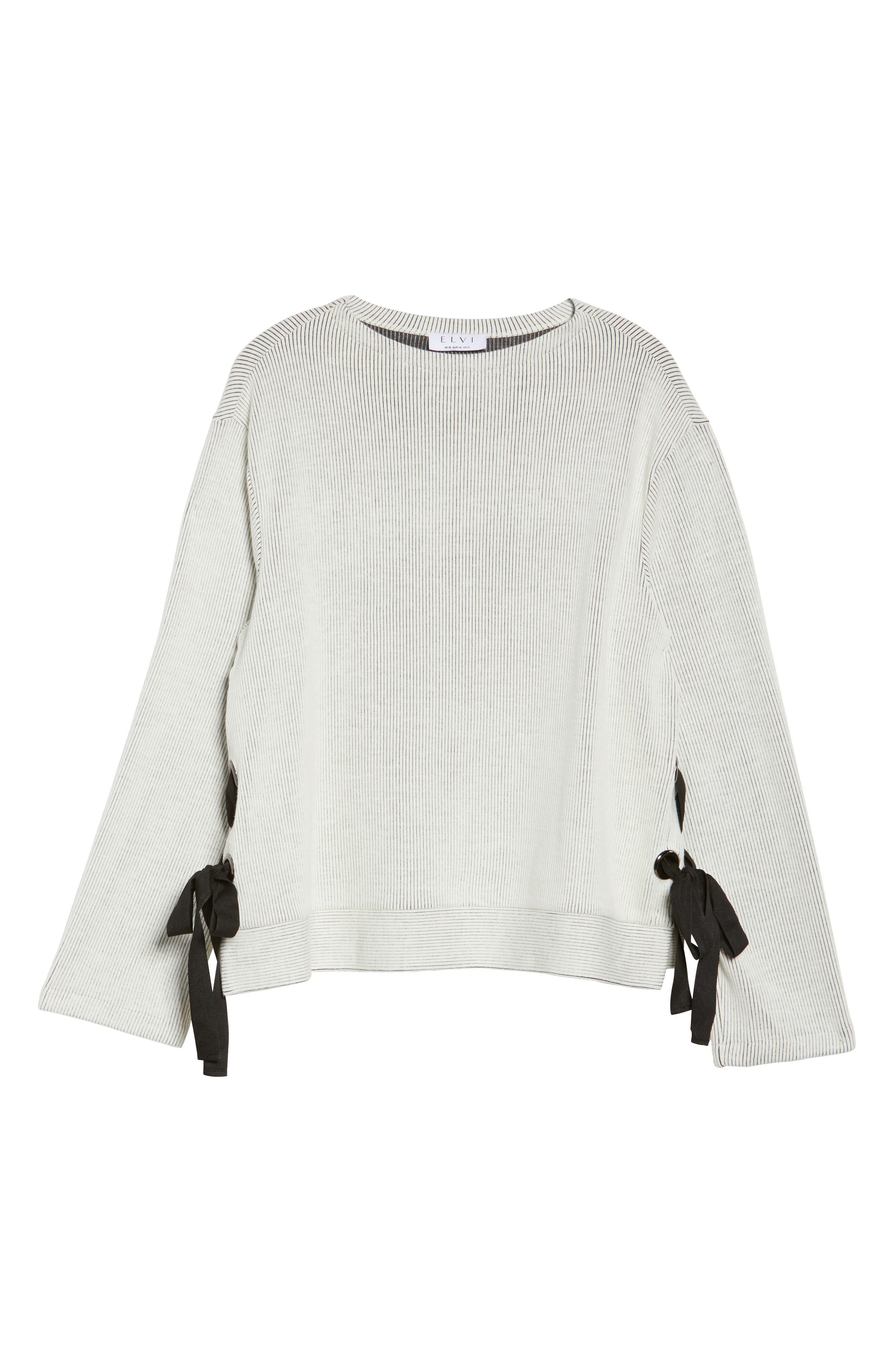 Alternate Image 6  - ELVI Ribbed Eyelet Sweater (Plus Size)