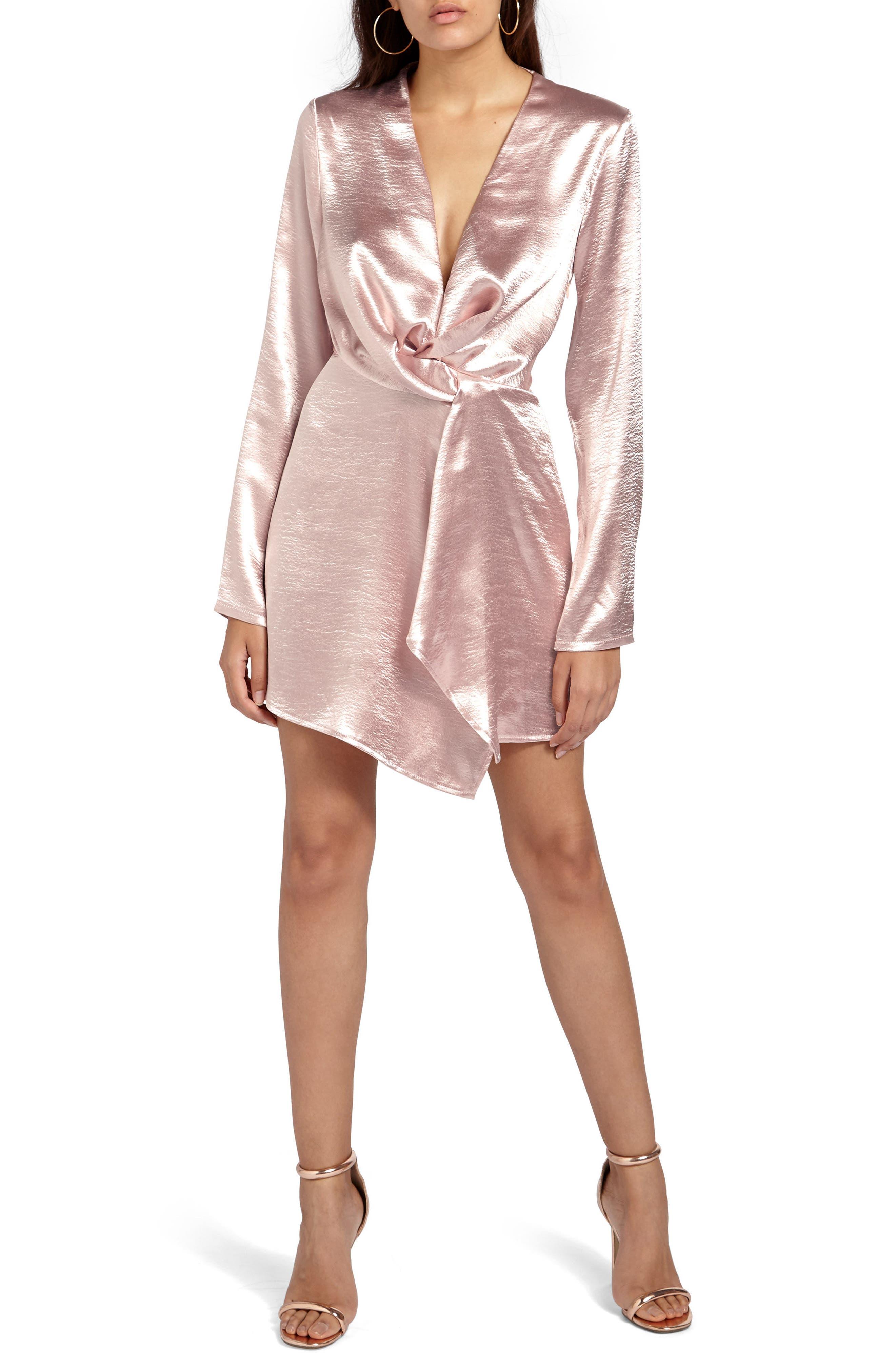 Satin Wrap Minidress,                         Main,                         color, Pink