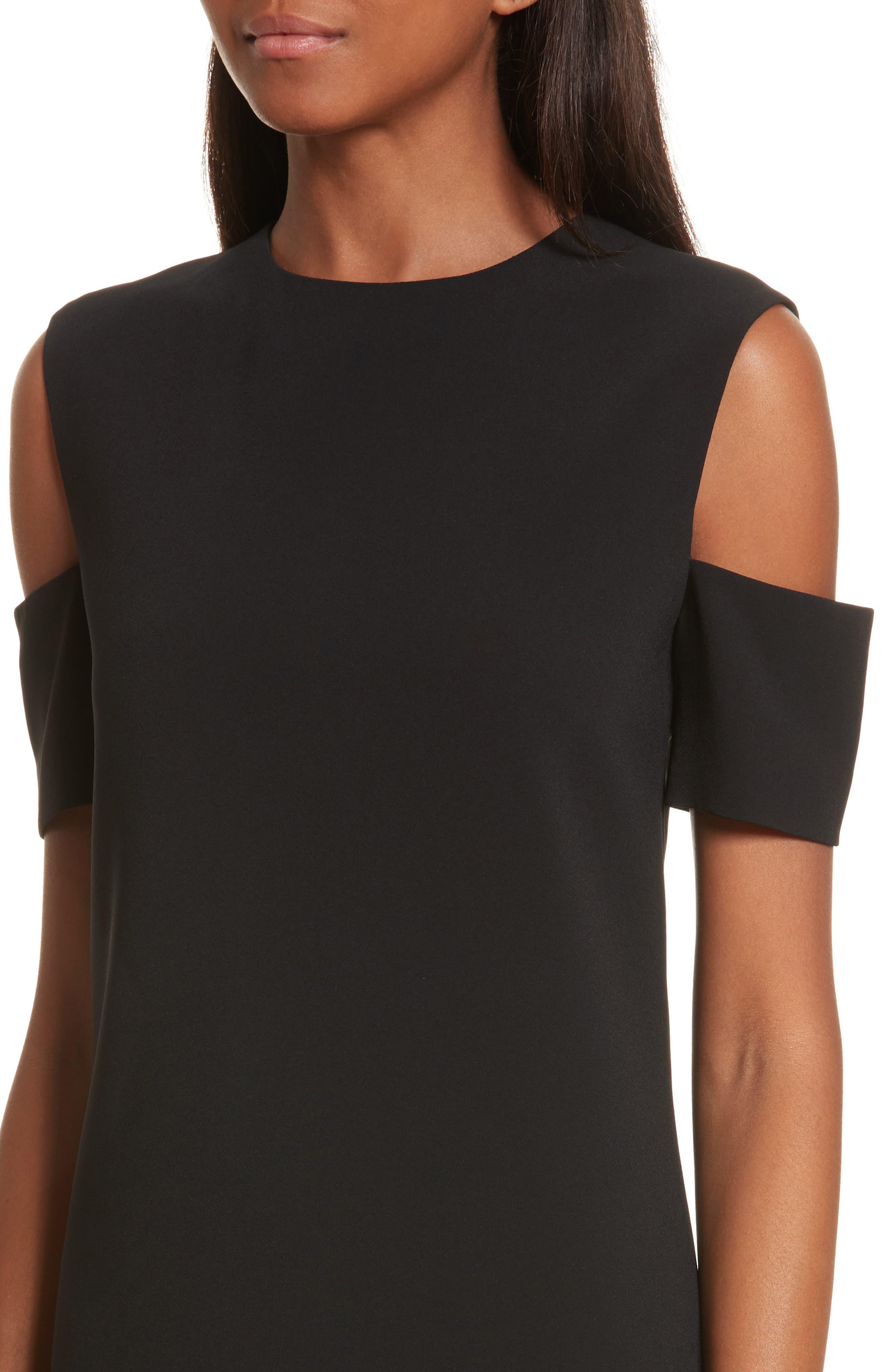 Cold Shoulder Shift Dress,                             Alternate thumbnail 4, color,                             Black