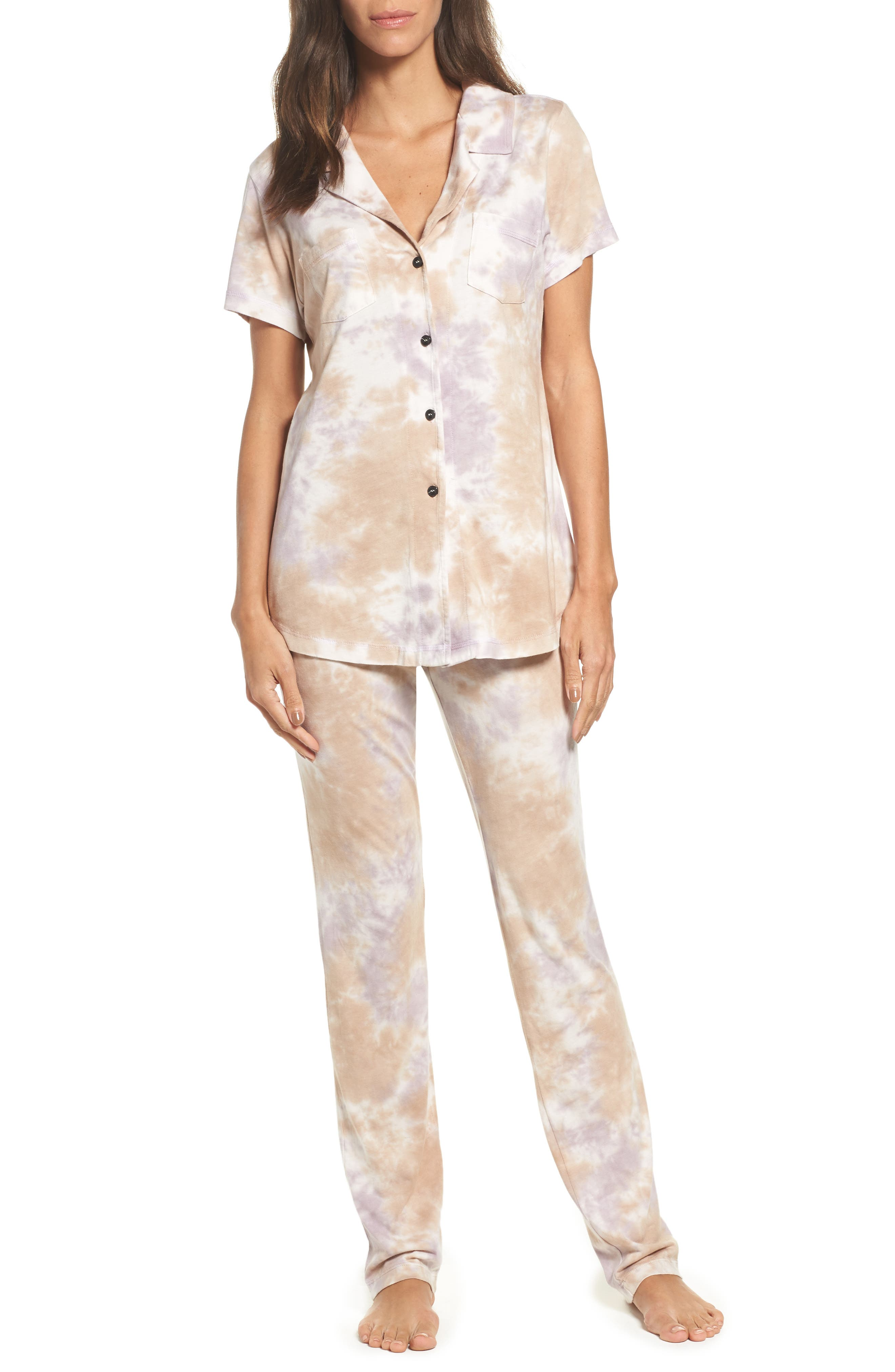 Christine Slim Leg Pajamas,                             Main thumbnail 1, color,                             Ash Violet