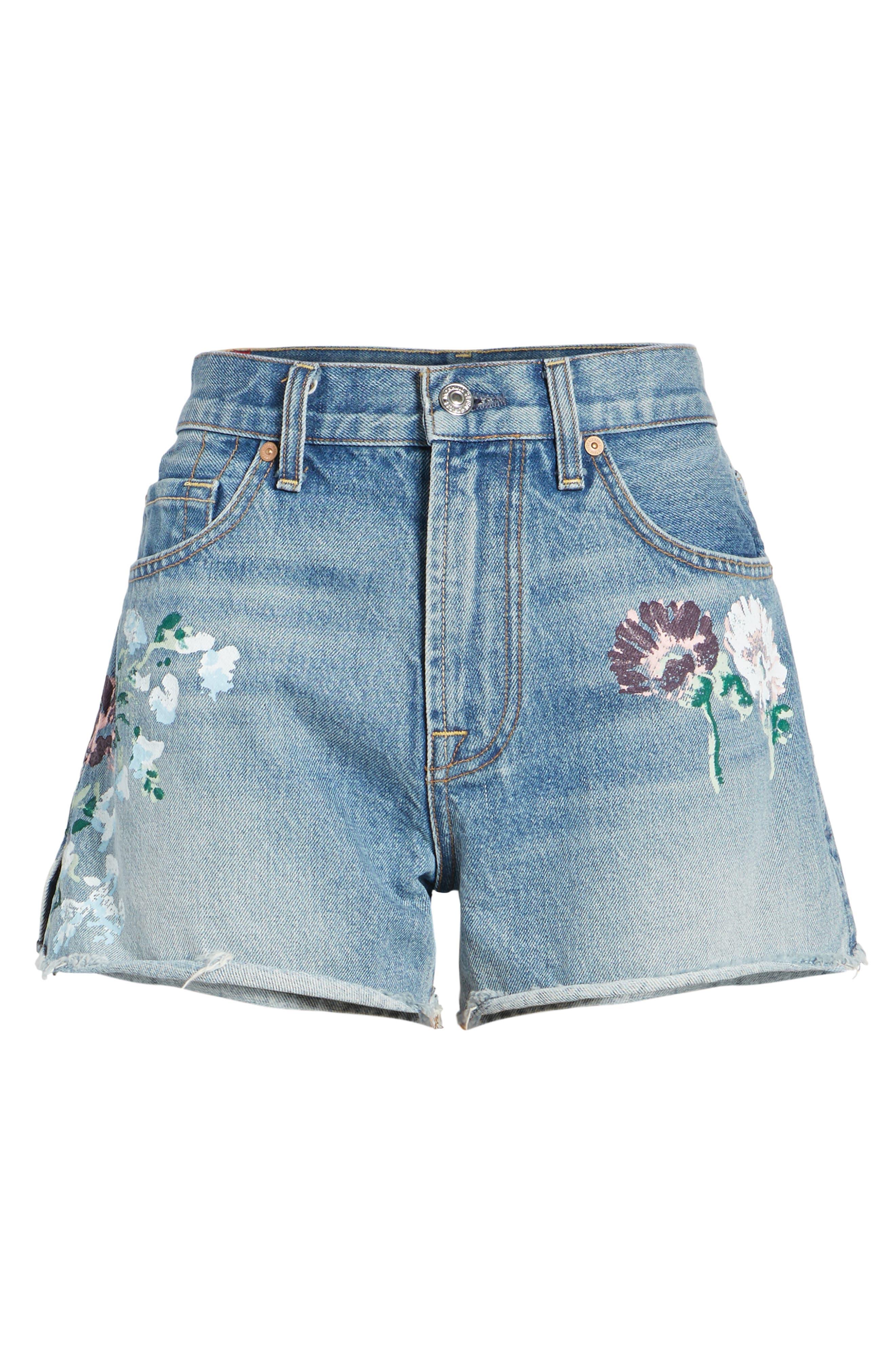 Handpainted Cutoff Denim Shorts,                             Alternate thumbnail 6, color,                             Vintage Wythe Painted Floral