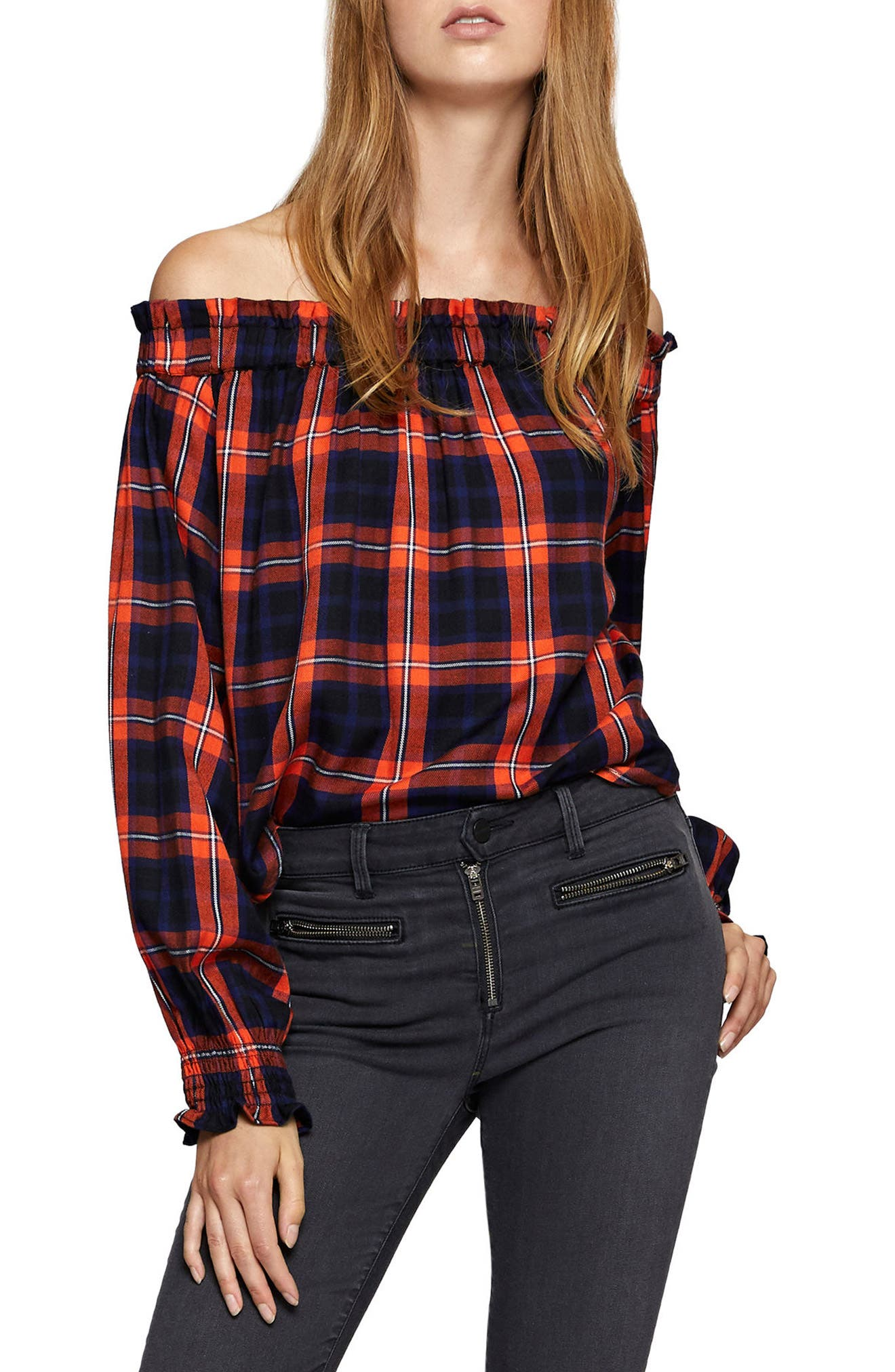 Off the Shoulder Top,                             Alternate thumbnail 4, color,                             Lacquer Plaid
