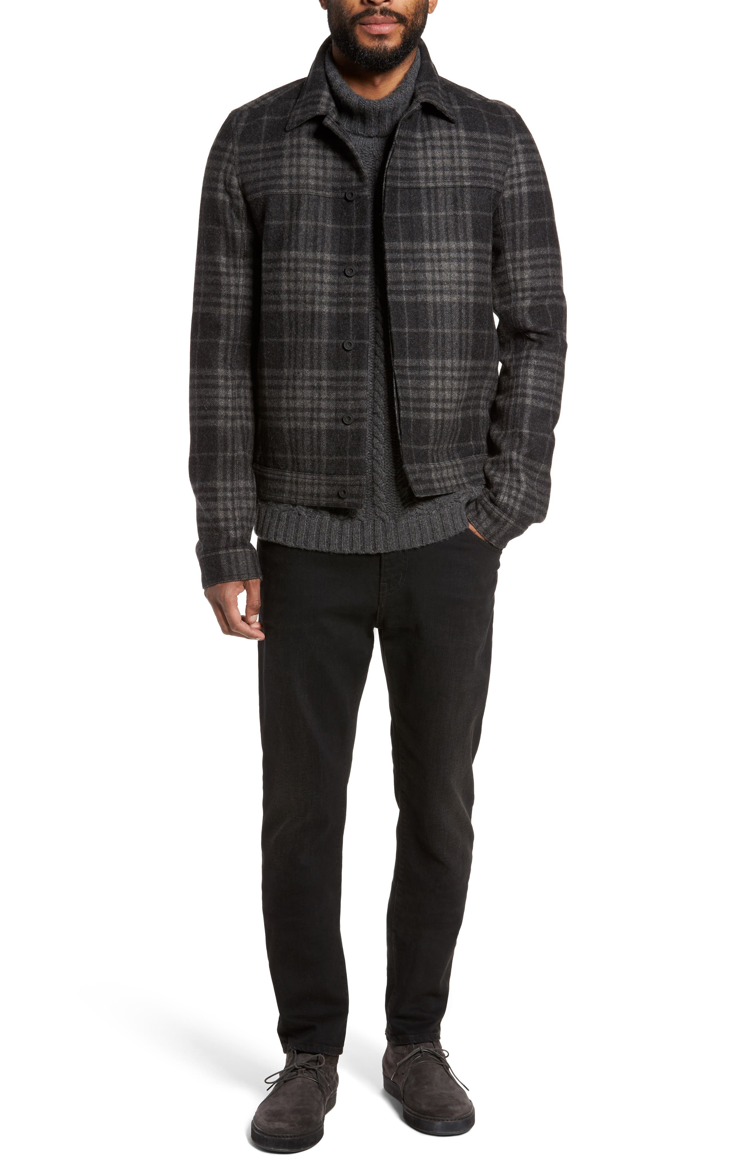 Plaid Trucker Jacket,                             Alternate thumbnail 6, color,                             Charcoal