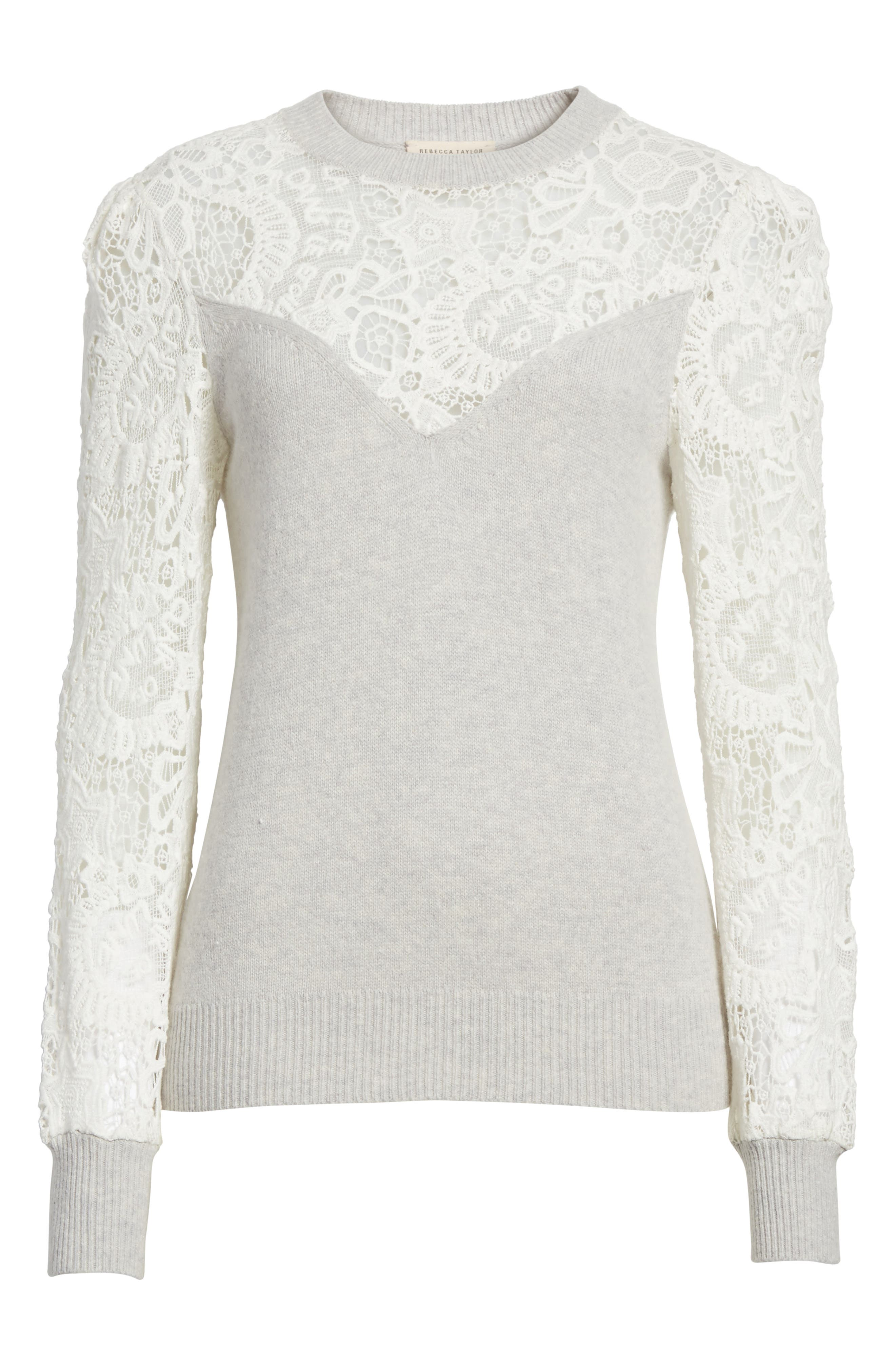 Alternate Image 6  - Rebecca Taylor Lace Trim Knit Pullover