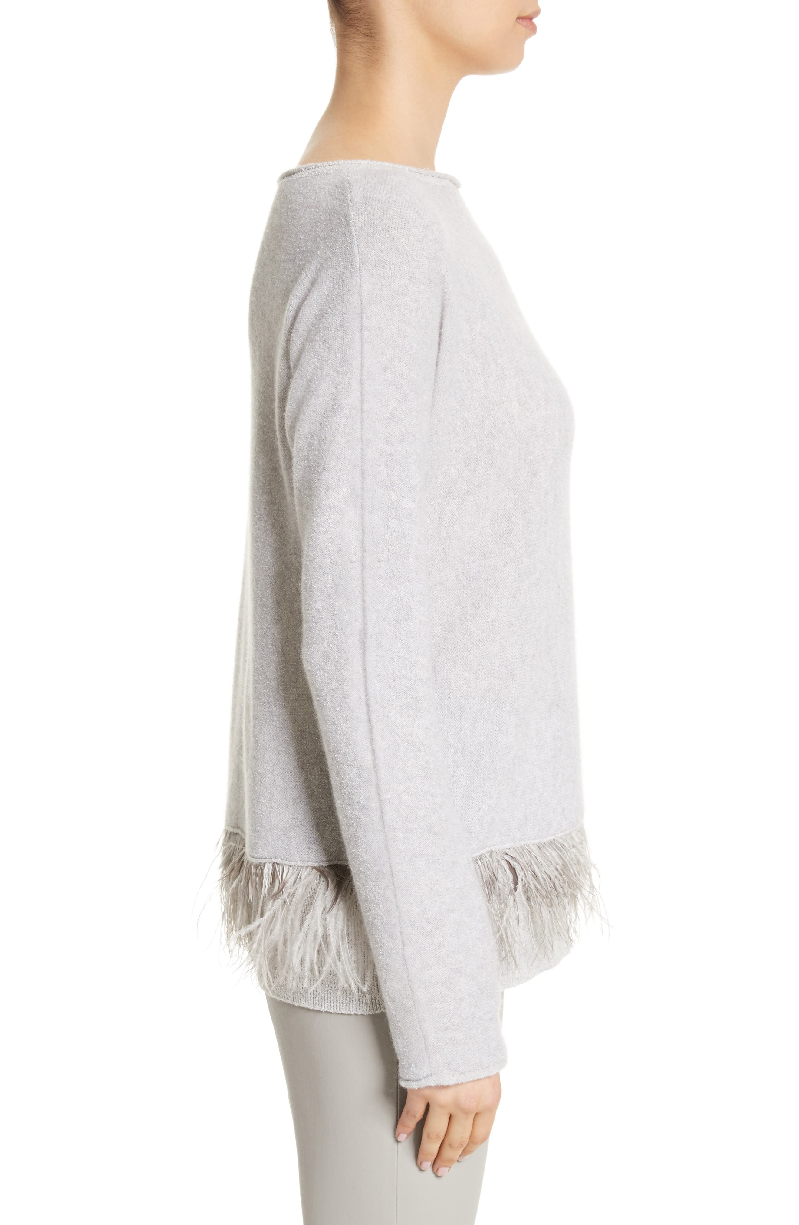 Cashmere Blend Sweater with Genuine Ostrich & Turkey Feather Trim,                             Alternate thumbnail 3, color,                             Grey
